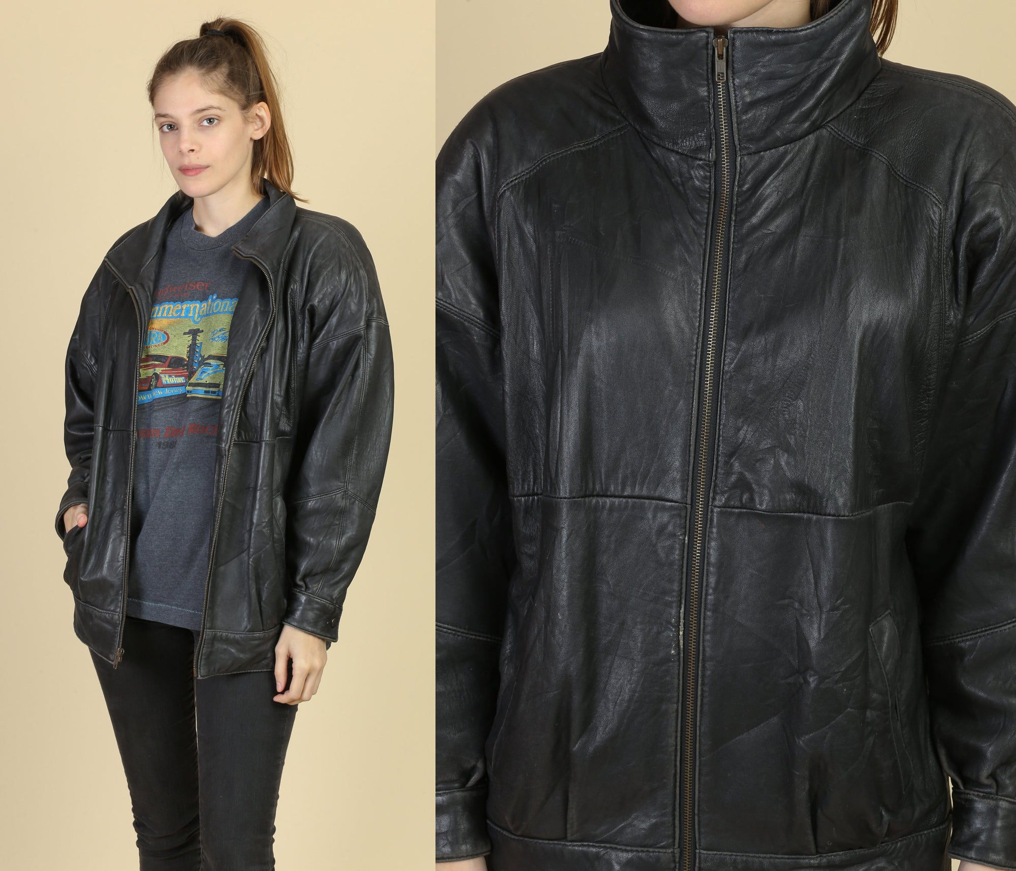 80s Leather Jacket - Men's Small