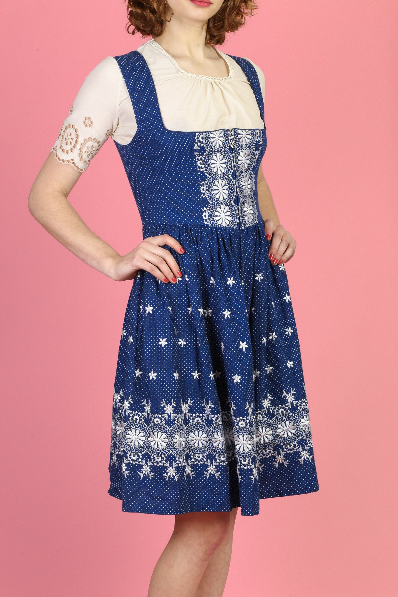 Vintage 70s Dirndl Folk Dress - Small to Medium