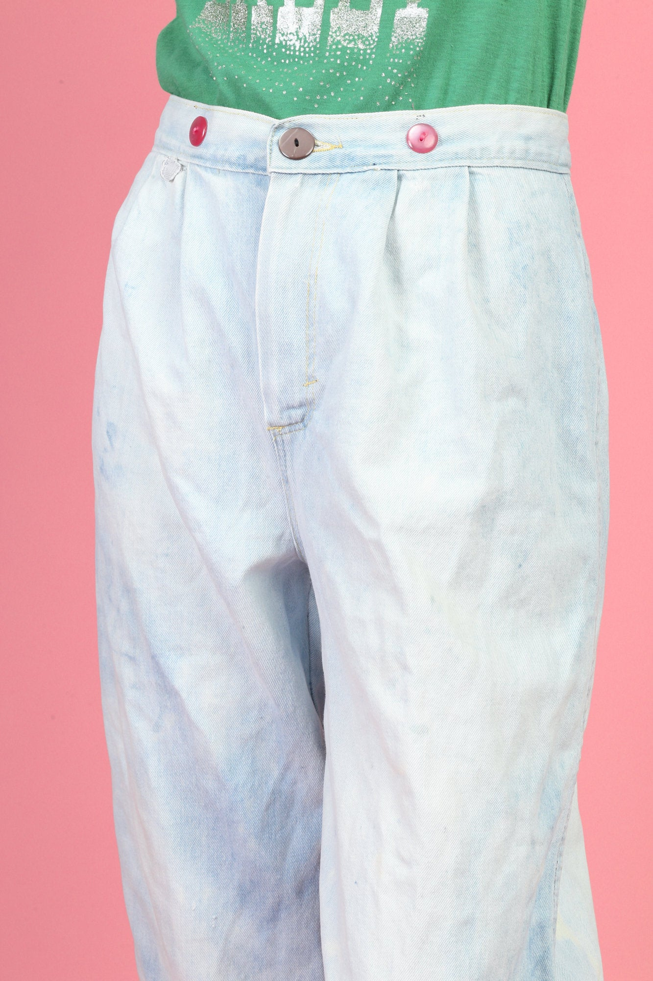 80s Bleached Denim Cropped Jeans - Medium
