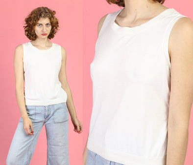 90s Minimalist Sleeveless Blouse - Large