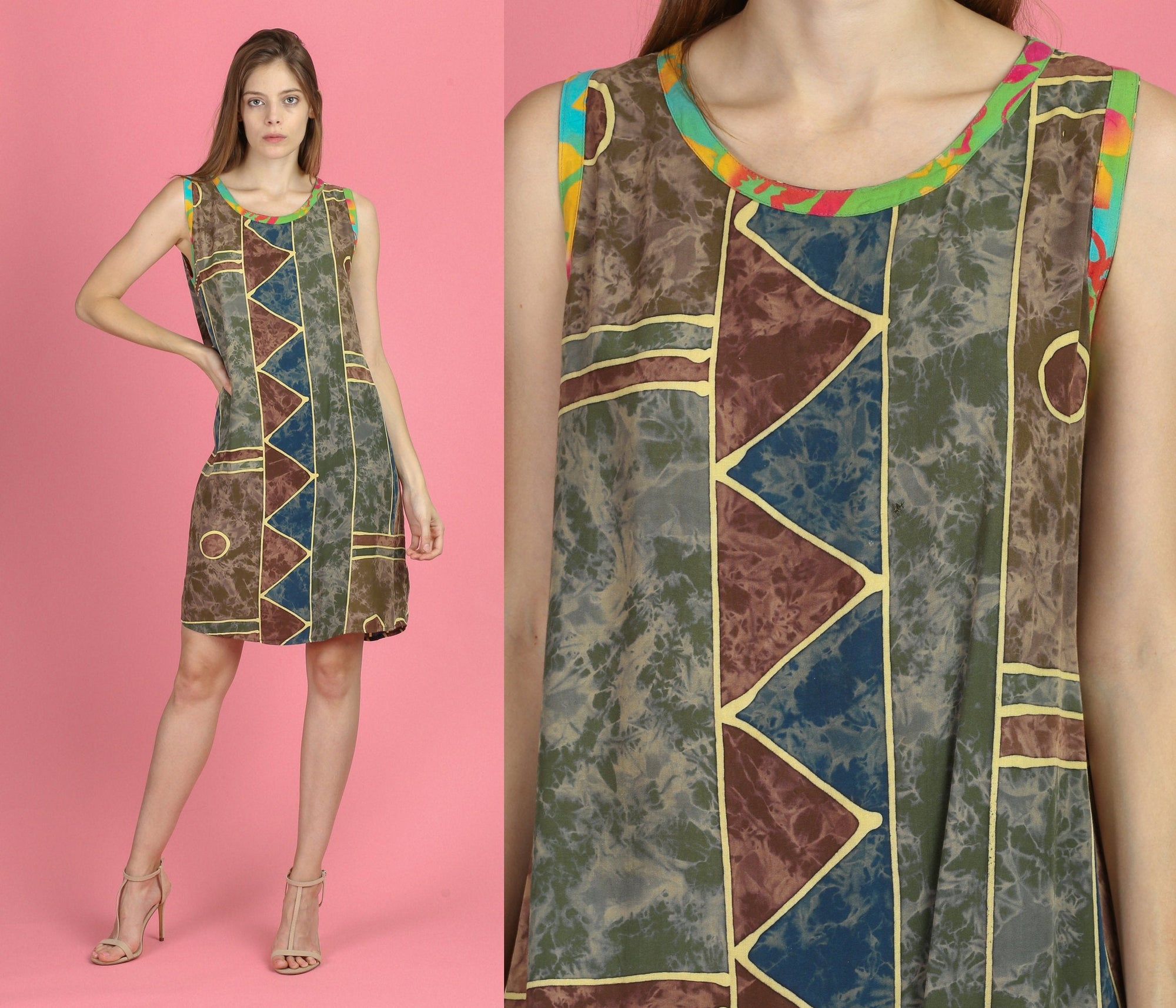 90s Boho Ethnic Mini Dress - Large