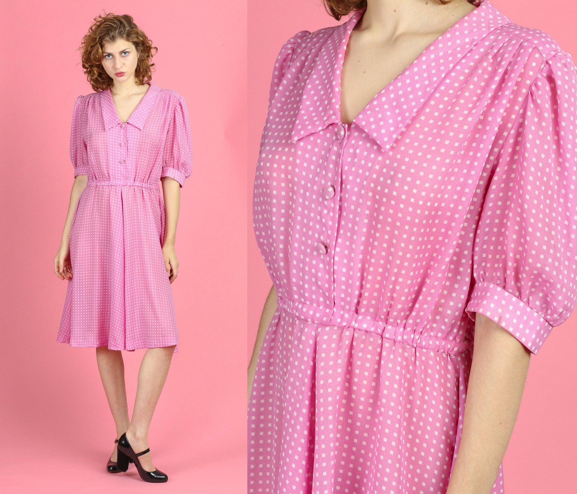 60s Pink Polka Dot Shirtwaist Dress - Large