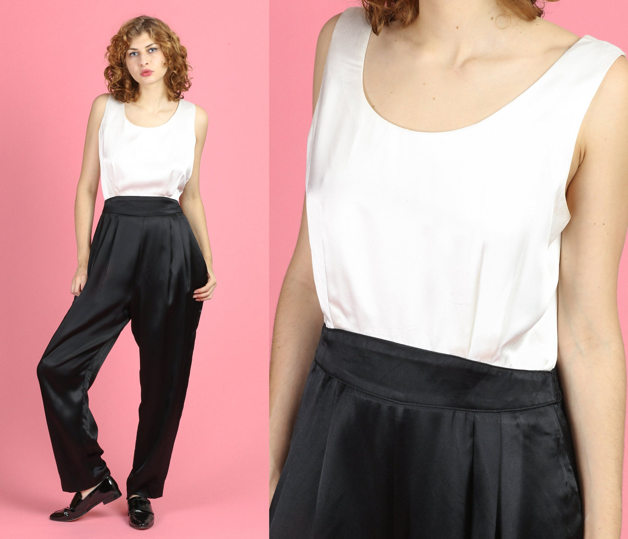 80s Satin Black & White Jumpsuit - Large
