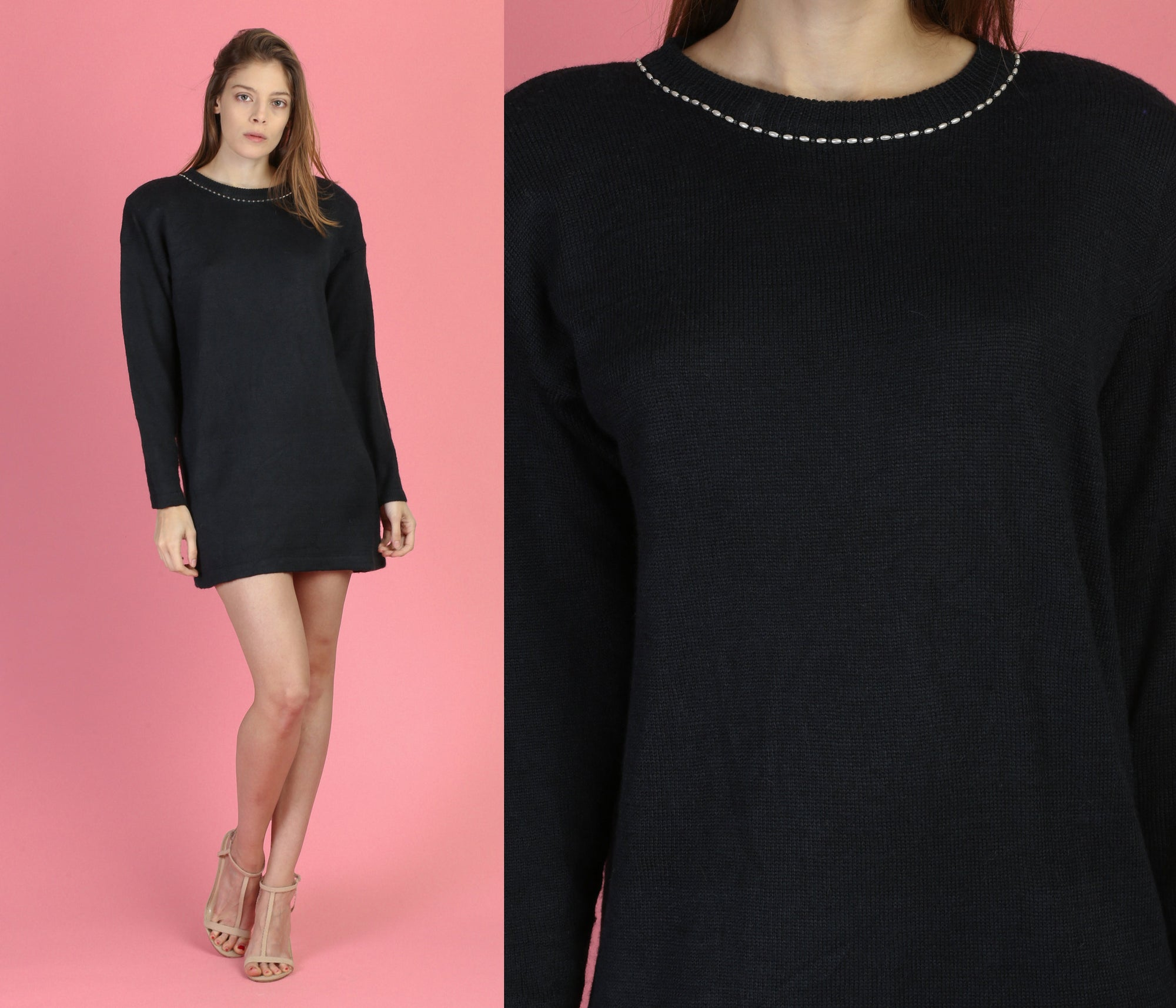 80s Black Beaded Mini Sweater Dress - Small