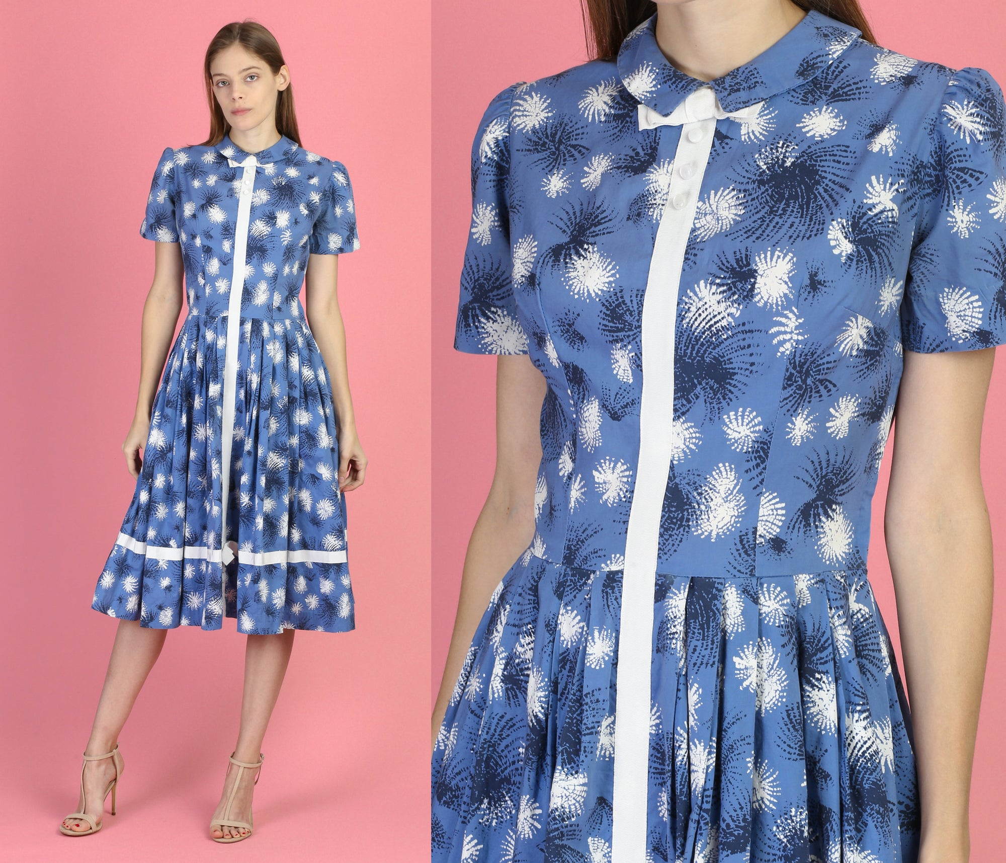 Vintage 1940s Blue Fit & Flare Tea Length Dress - Small
