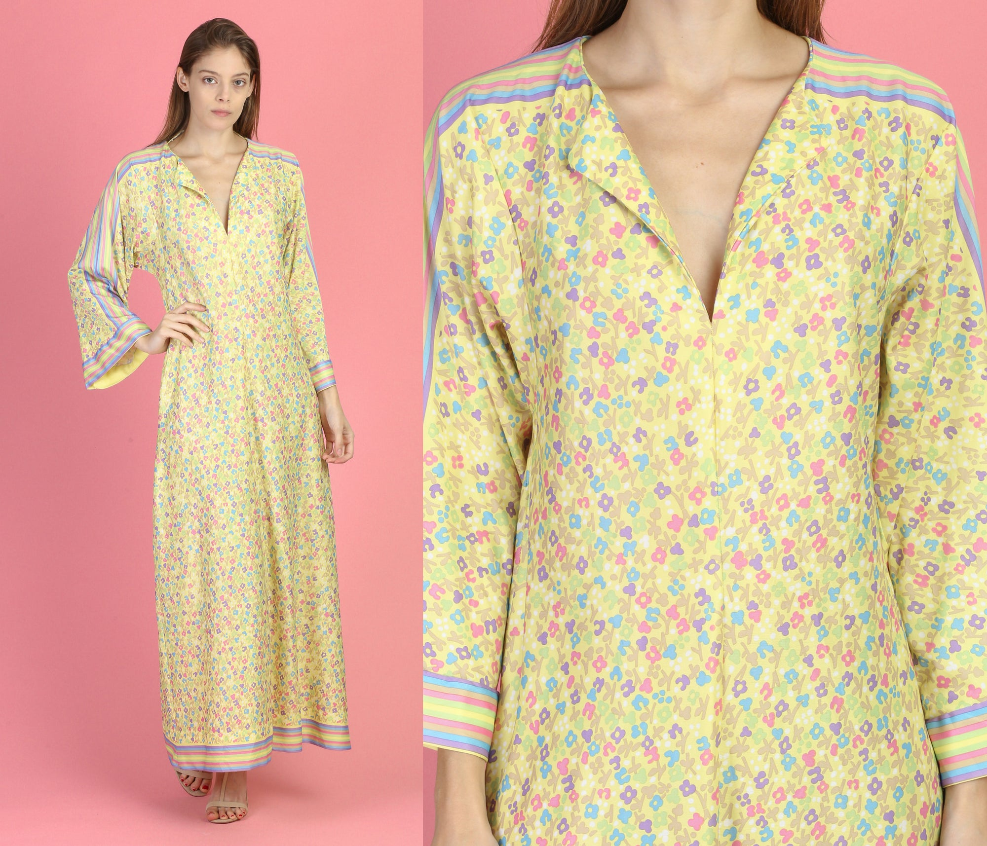 60s Flower Power Bell Sleeve Kaftan - Medium