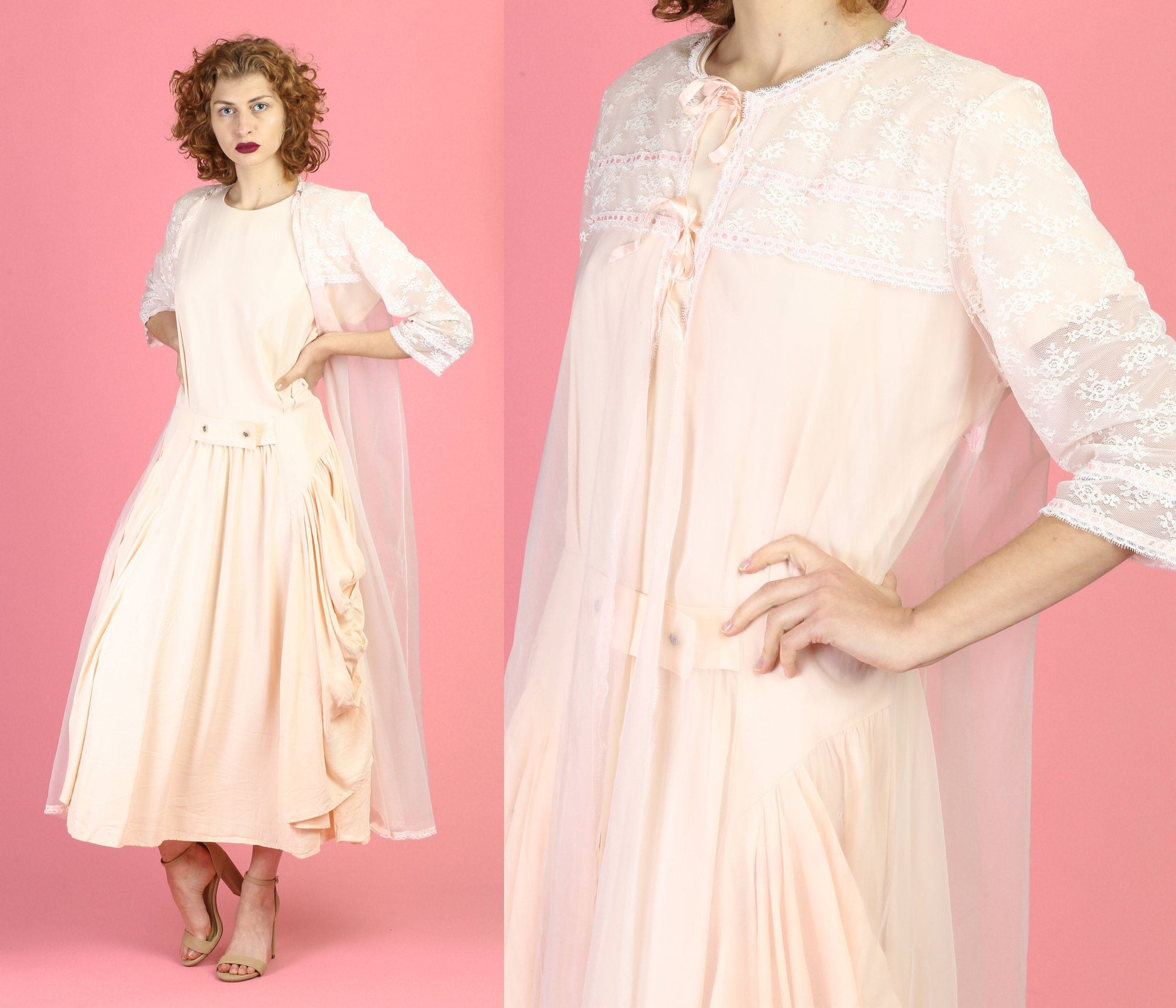 60s Sheer Pink Peignoir Robe - Large