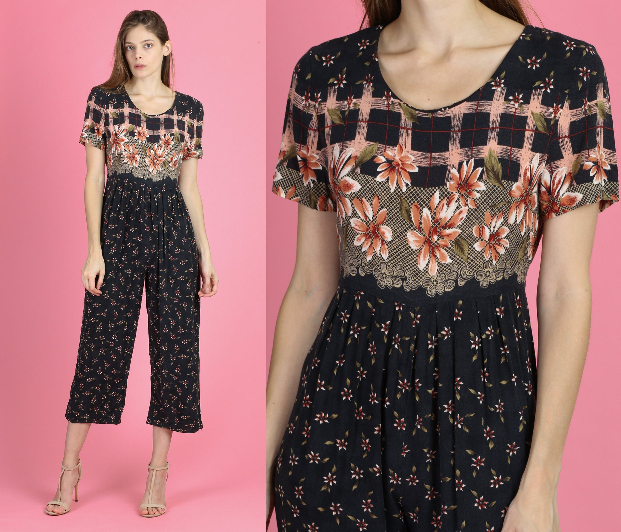 90s Grunge Floral Jumpsuit - Small to Medium