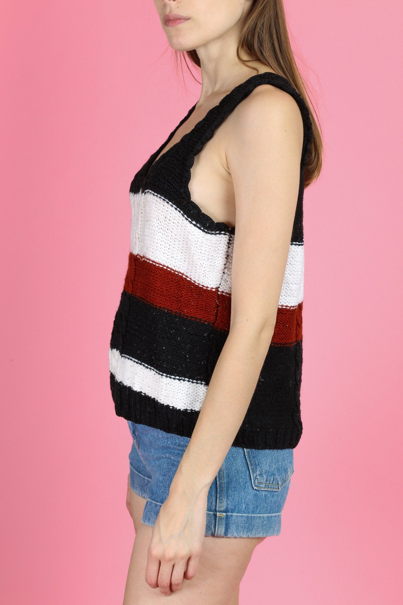 Vintage Sleeveless Cable Knit Sweater Top - Medium