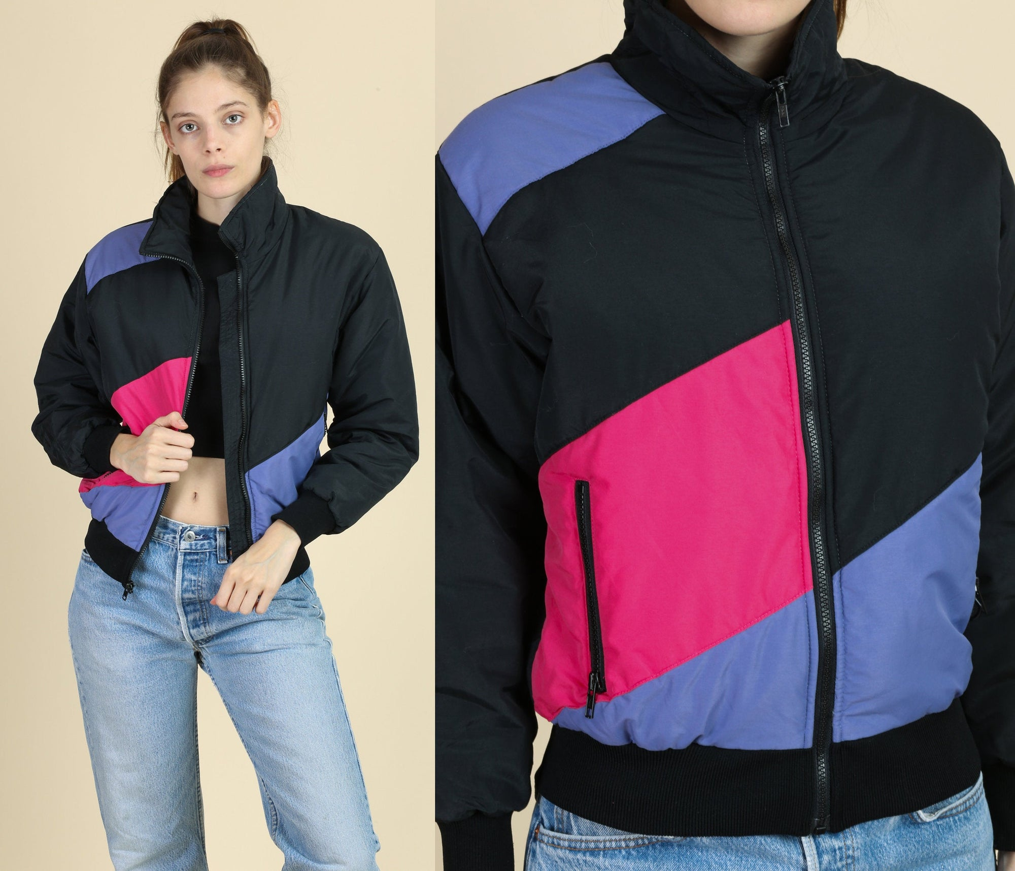80s Color Block Puffer Jacket - Medium