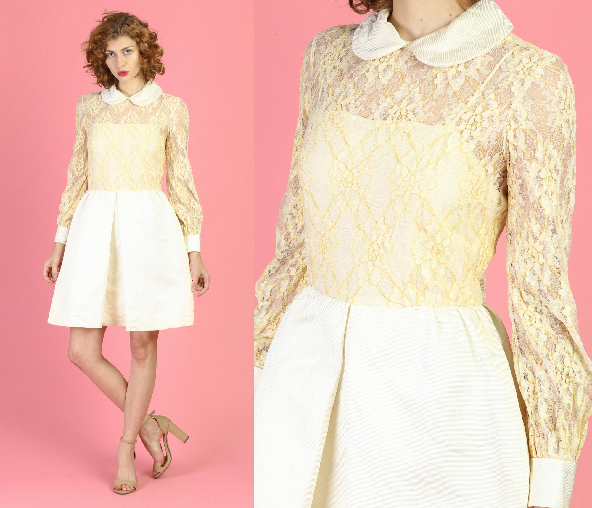 60s 70s Jane Andre California Mod Lace Mini Dress - Small