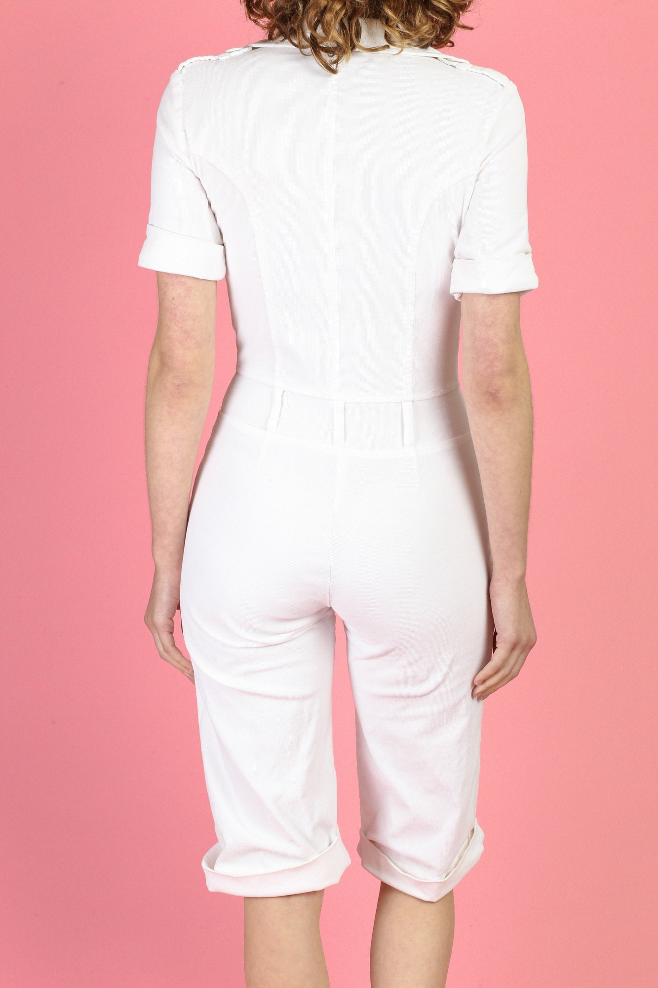 White Corduroy Jumpsuit - Extra Small