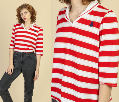 70s Nautical Striped Sailor Top - Extra Large