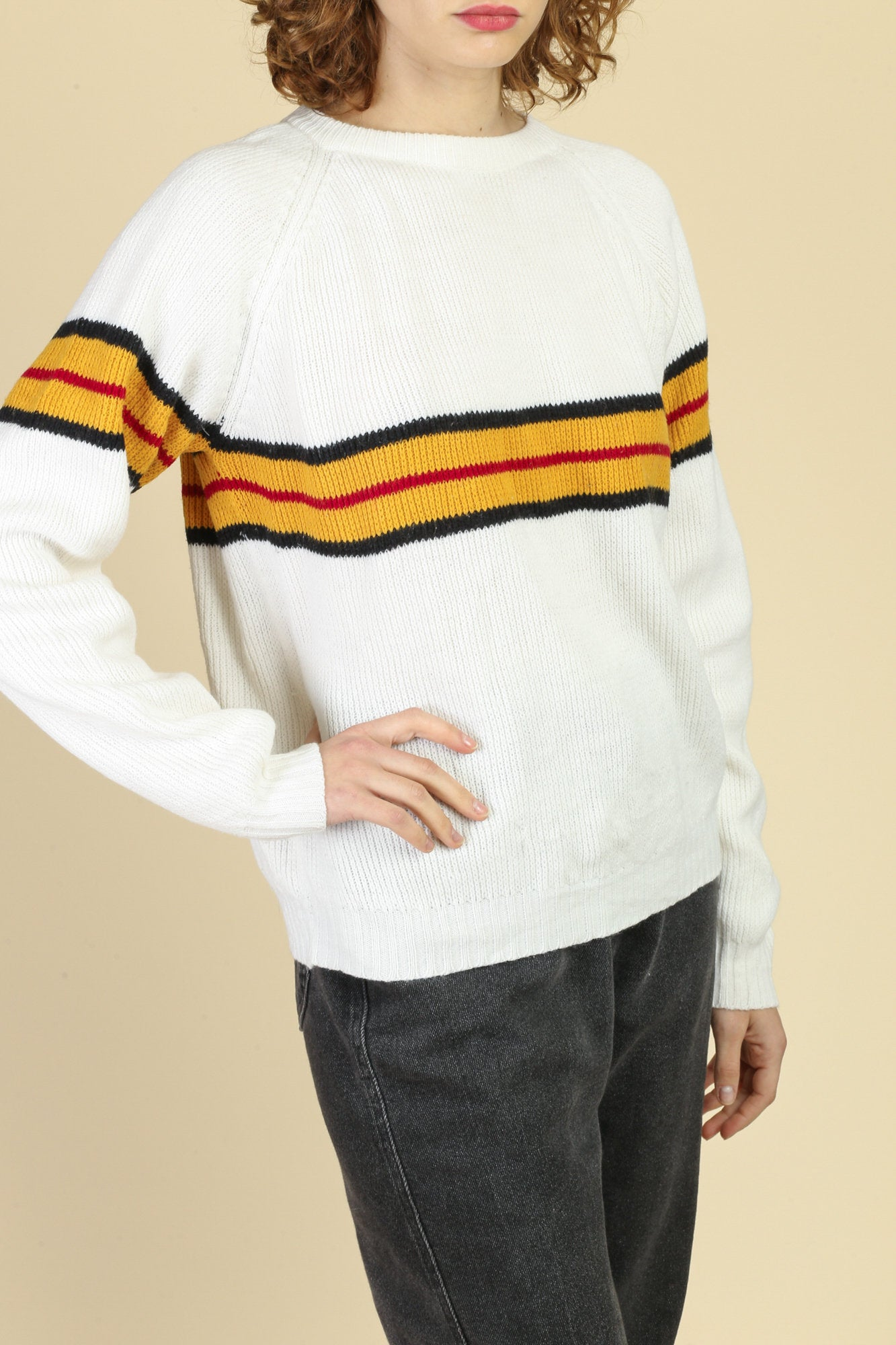 80s White Striped Sweater - Medium