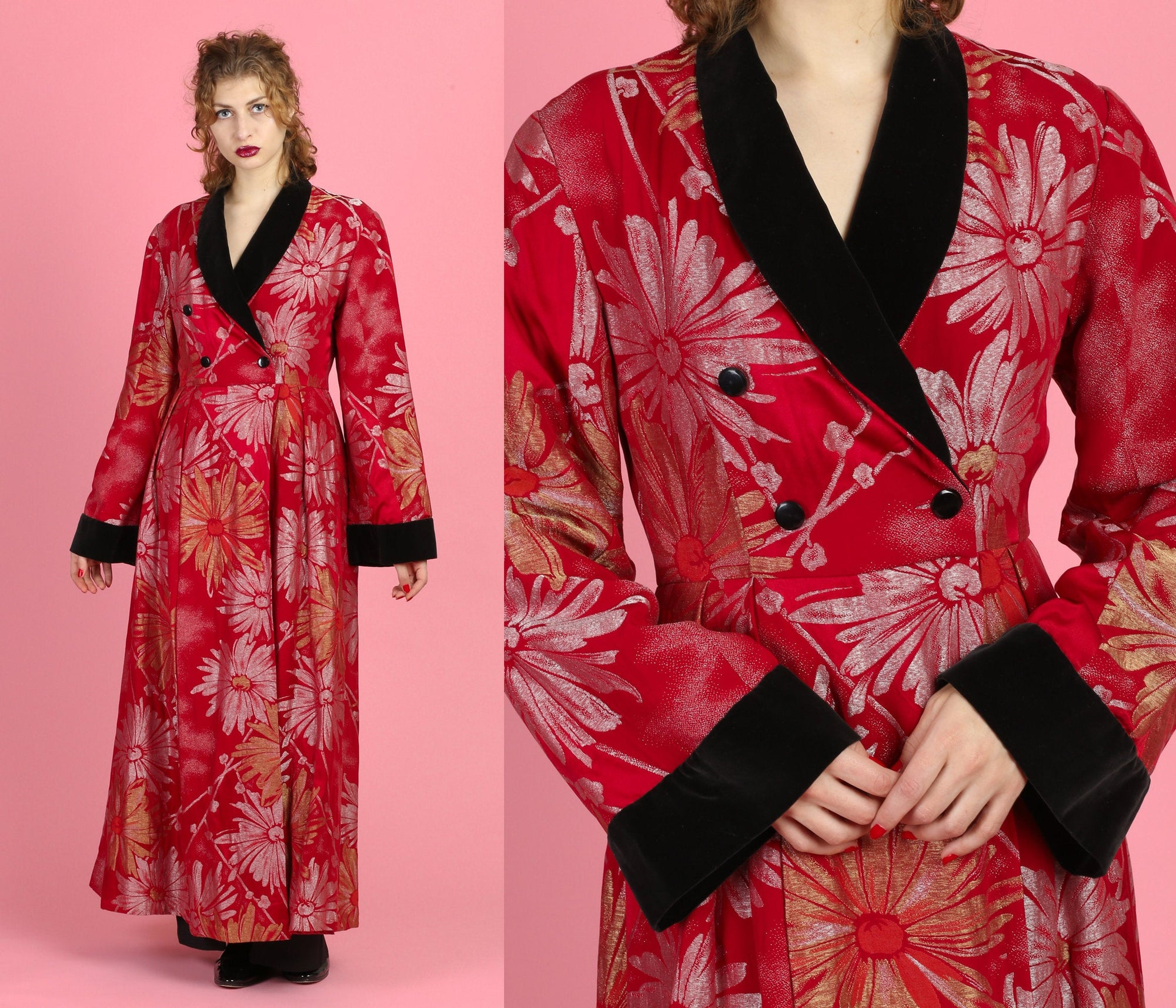 Rare 1930s Ruby Red Lamé Coat - Medium