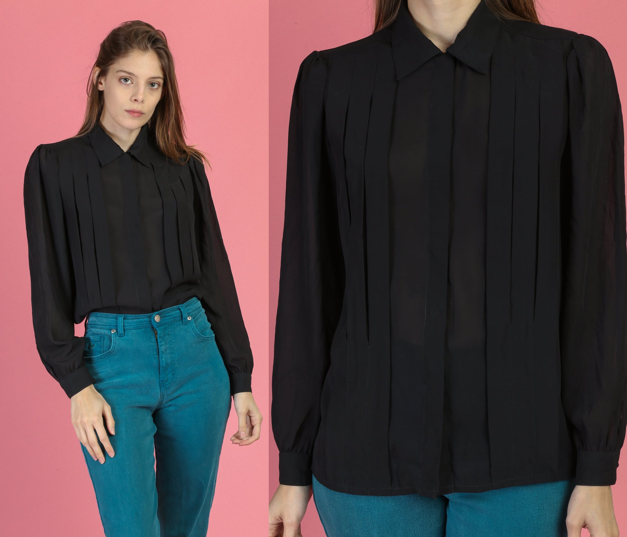 80s Sheer Black Pleated Blouse - Medium