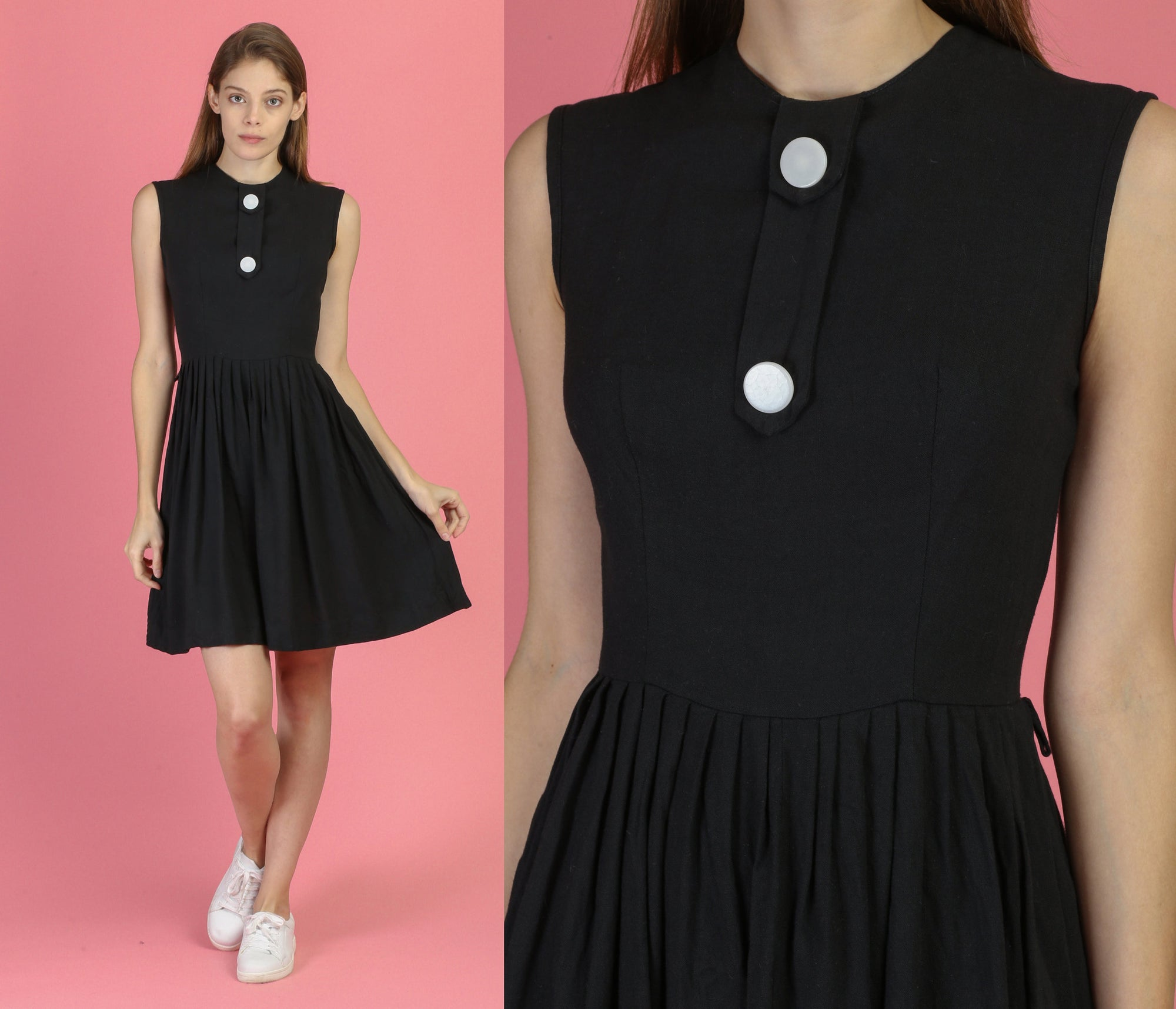60s Mod Big Button Mini Dress - Extra Small