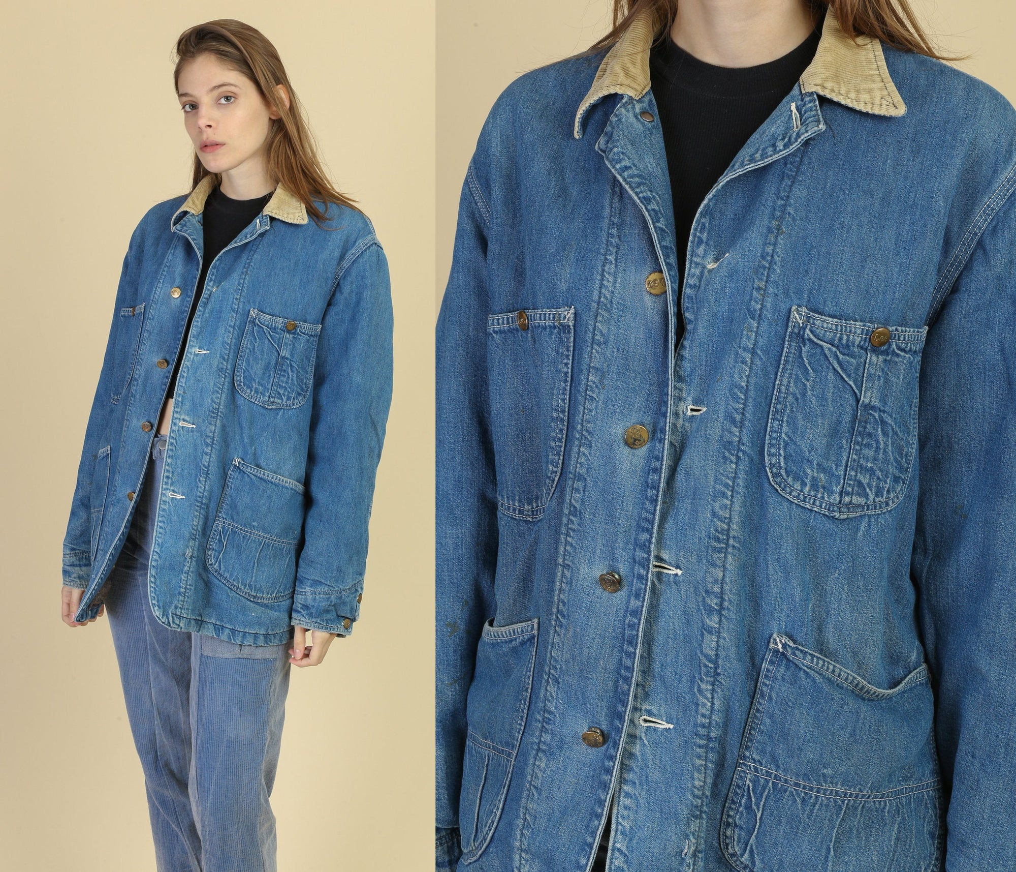 70s Lee Blanket Lined Sanforized Denim Chore Jacket - Medium