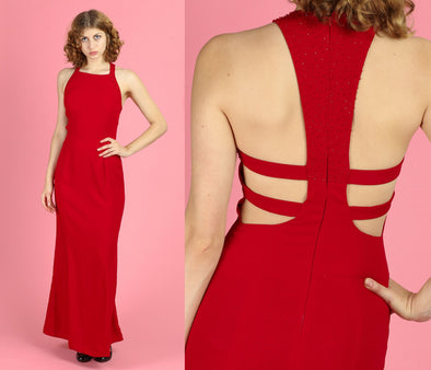 90s Red Strappy Back Beaded Gown - Small, 4