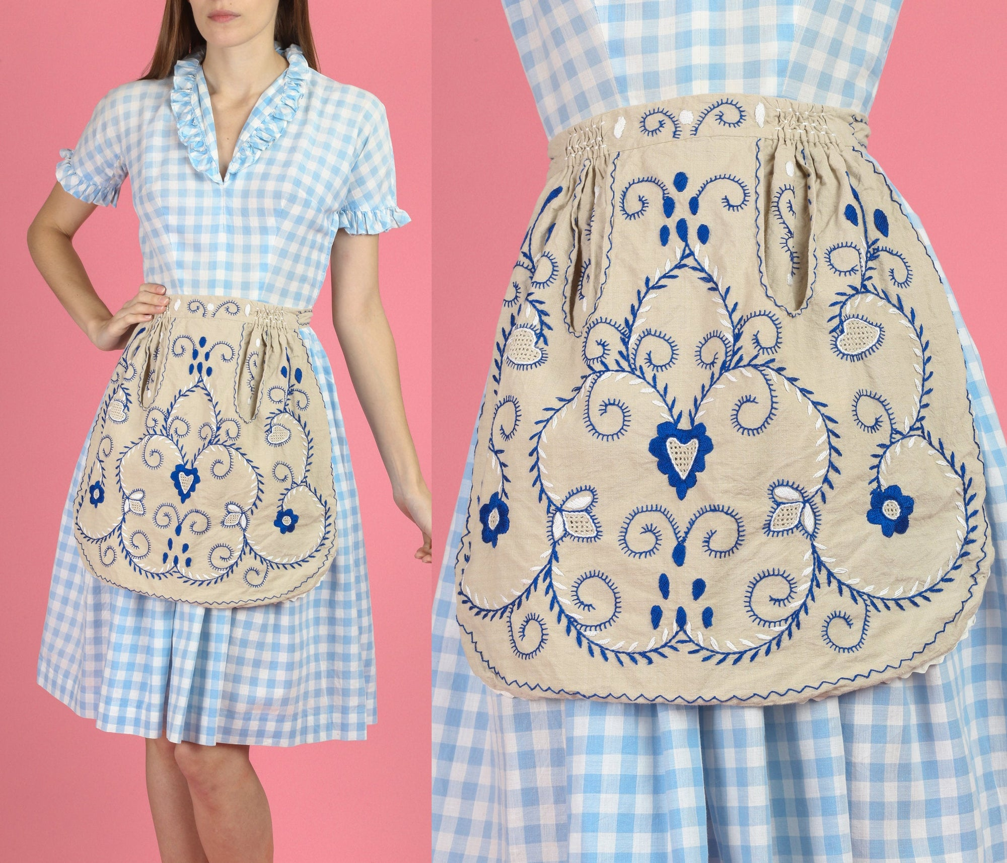 Vintage 60s 70s Boho Embroidered Apron