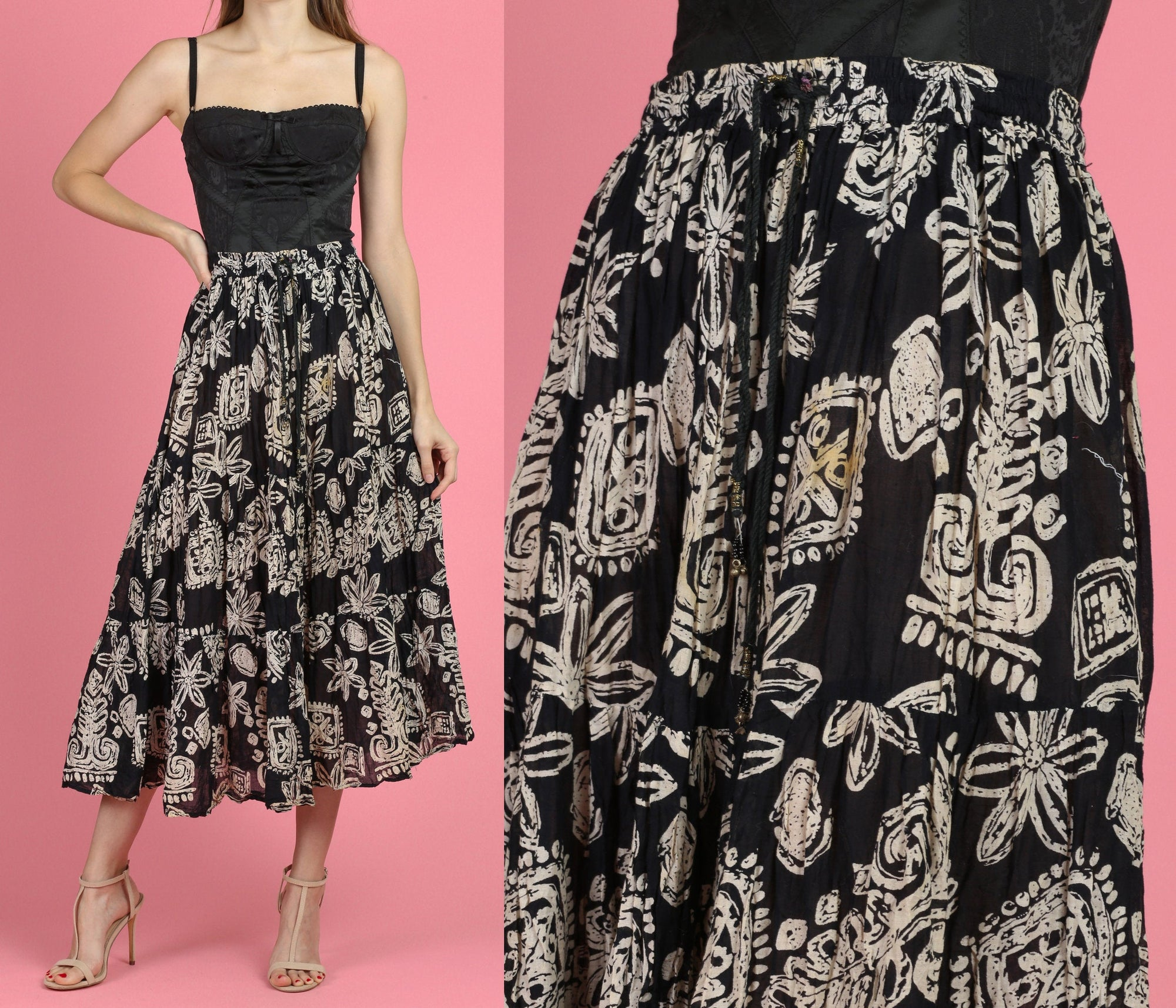 90s Boho Black & White Broomstick Skirt - Small to Medium