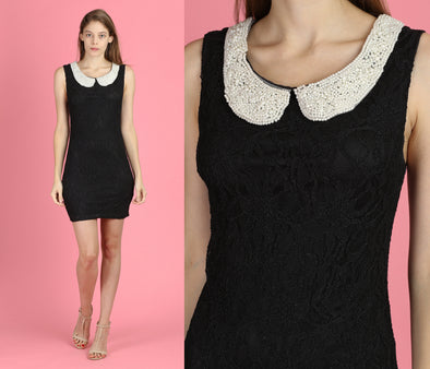 90s Beaded Peter Pan Collar Little Black Dress - Small