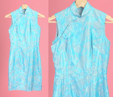60s Blue & Silver Metallic Cheongsam Dress - XXS