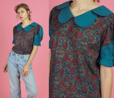 Vintage Floral Petal Collar Puff Sleeve Blouse - Medium