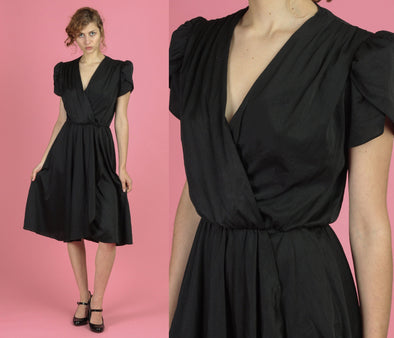 80s V Neck Black Wrap Style Dress - Small to Medium
