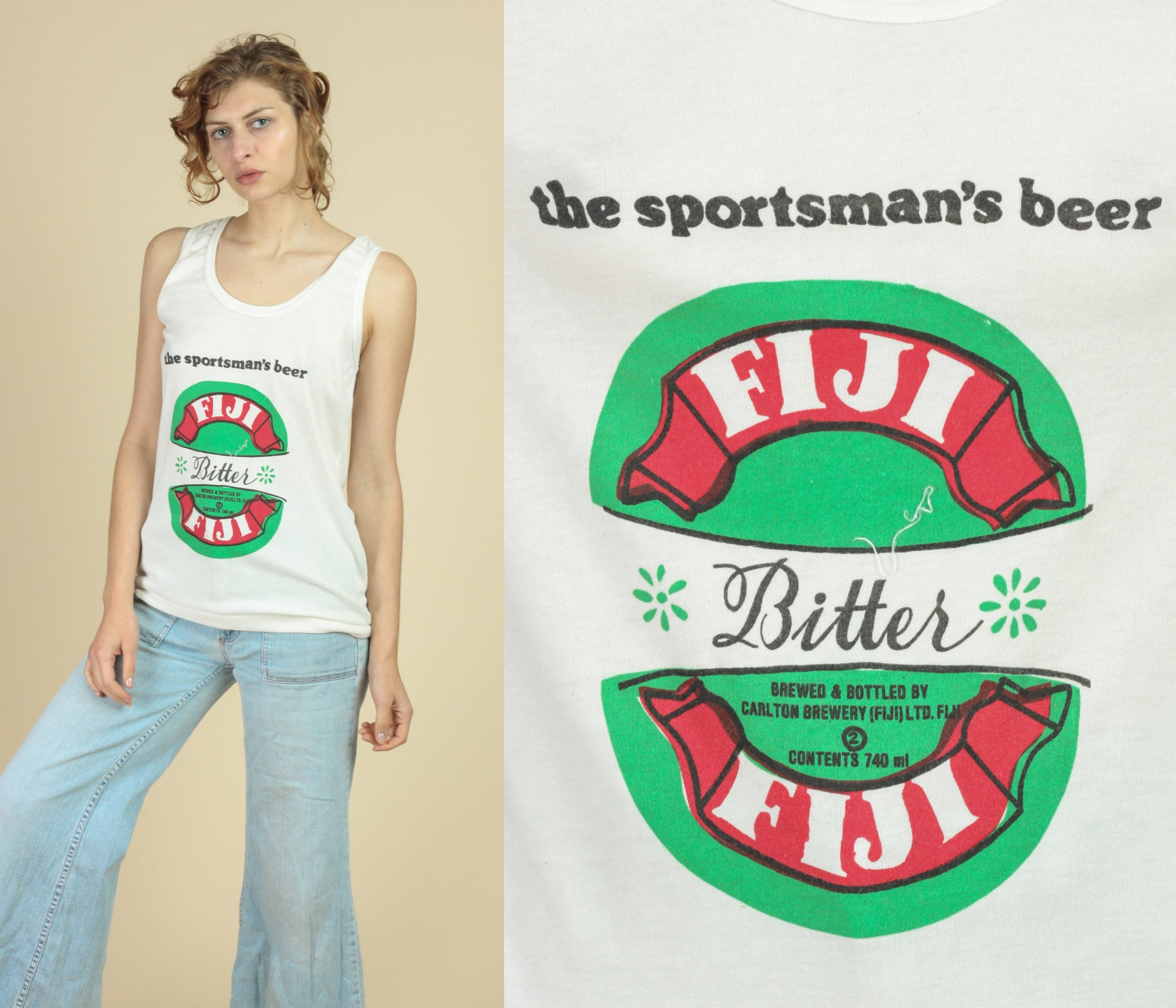 70s 80s Fiji Bitter Beer Tank - Medium