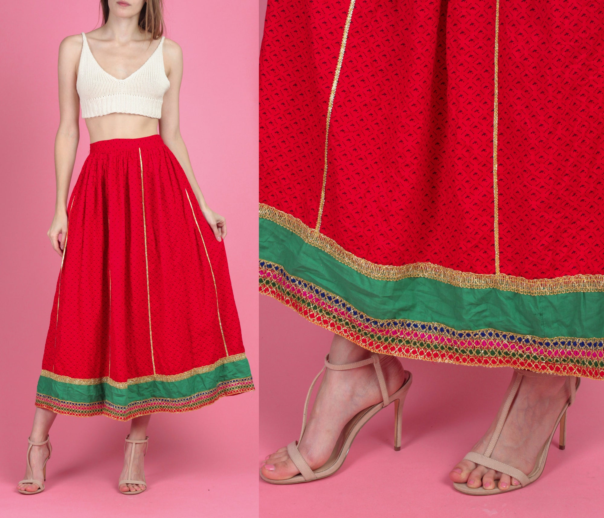 Vintage Indian Red Metallic Trim Skirt - Medium