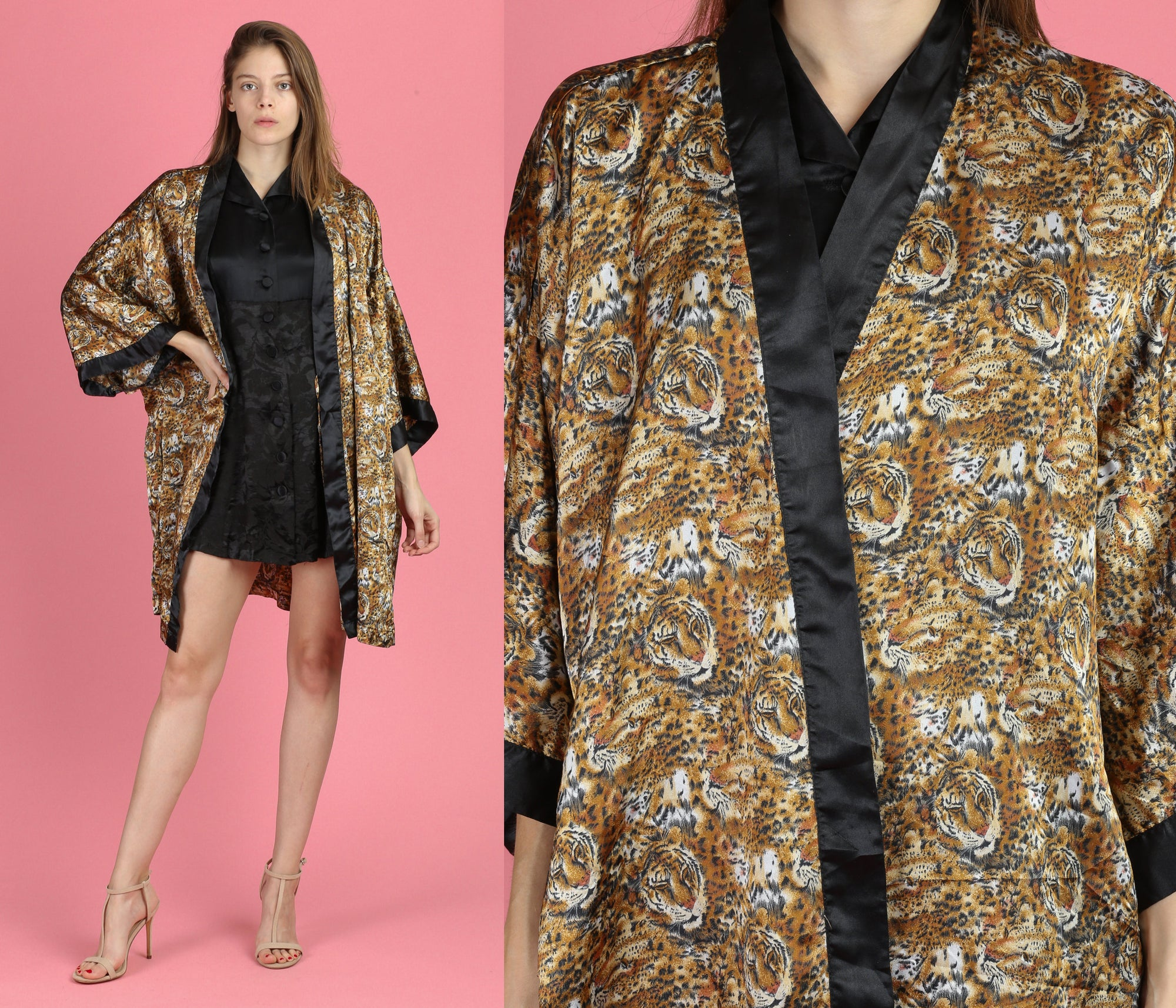 90s Tiger Print Satin Mini Robe - One Size