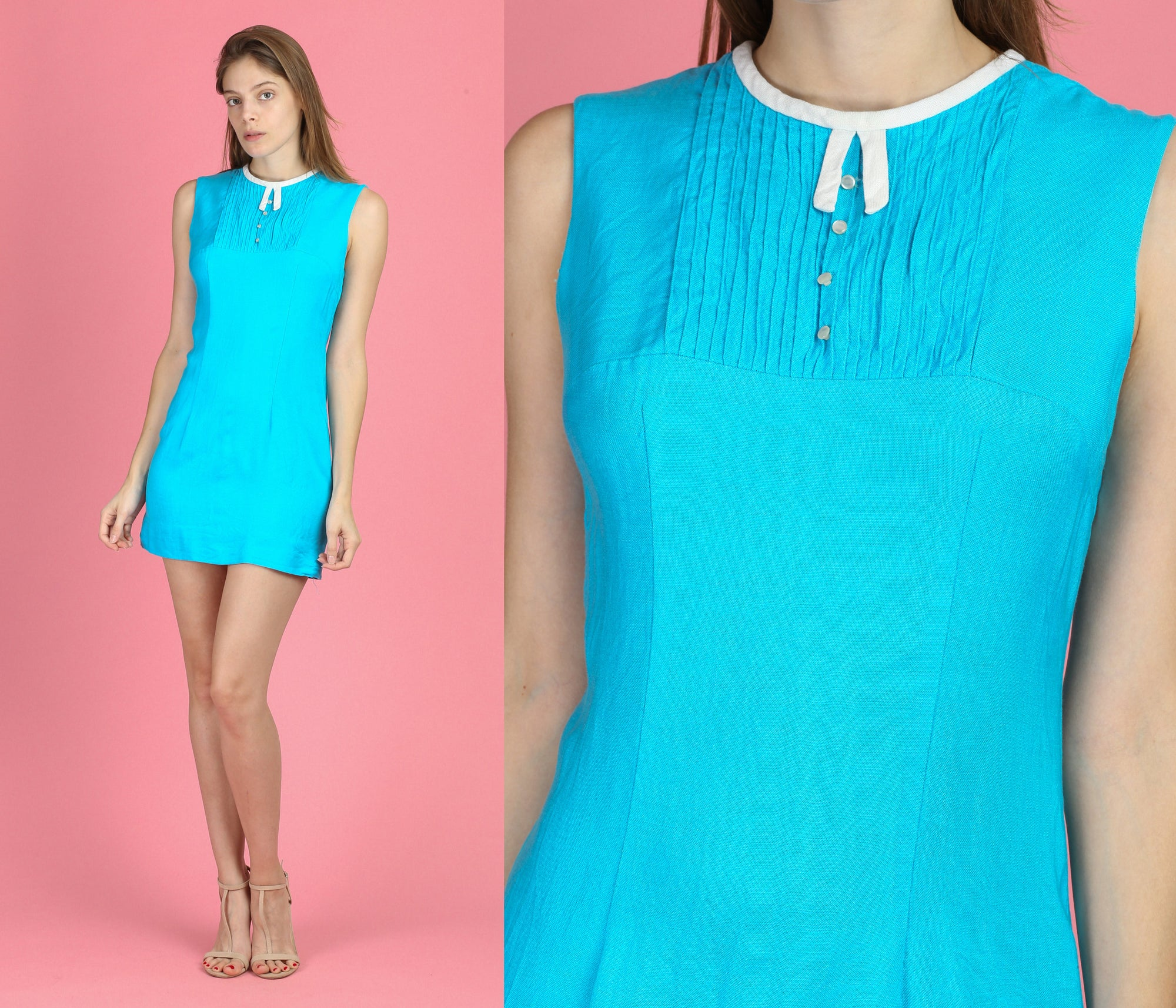 60s Blue Mod Twiggy Mini Dress - Small