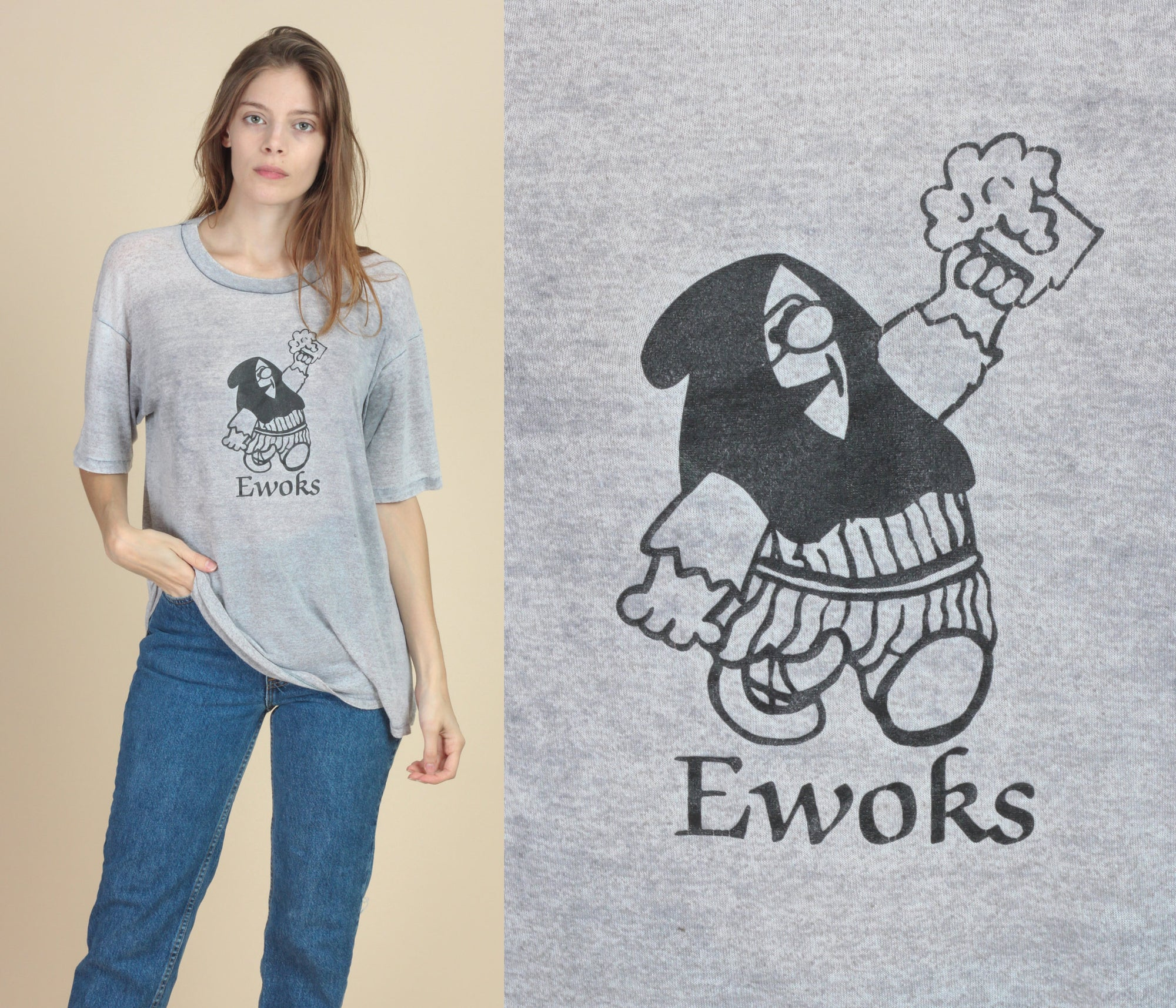Vintage Star Wars Ewoks Burnout T Shirt - Extra Large