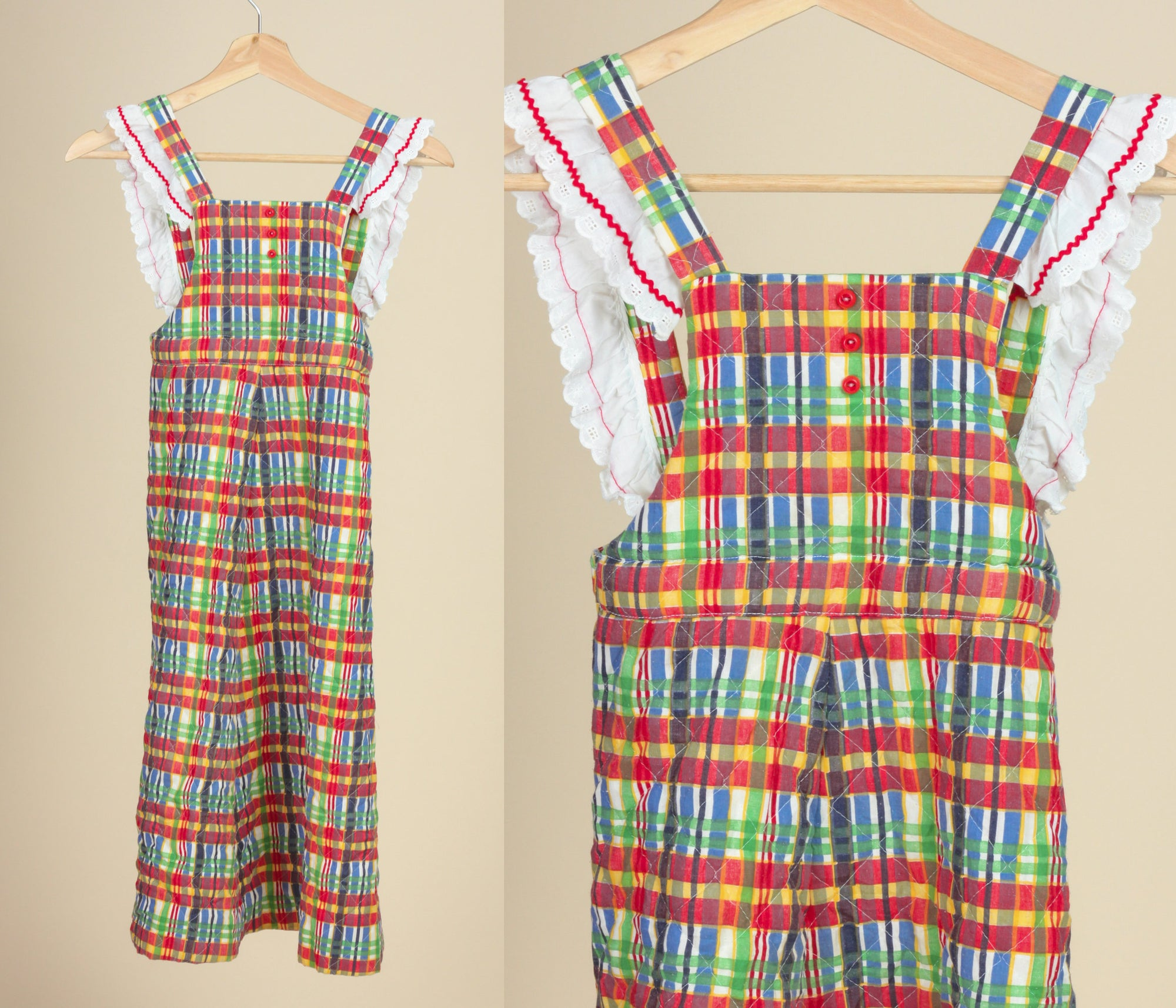 70s Girl's Plaid Pinafore Dress - Youth Small