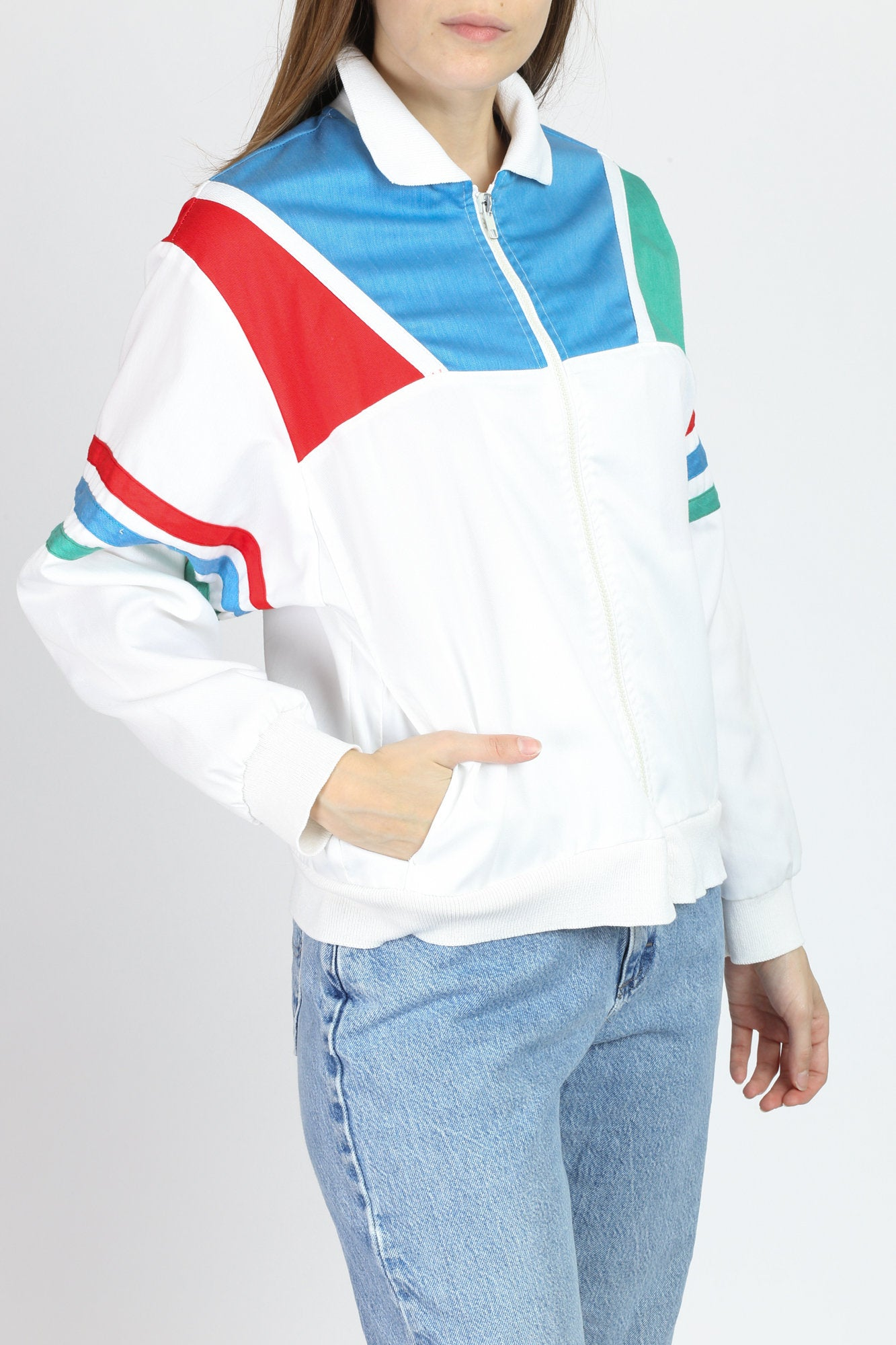 80s Color Block Track Jacket - Medium