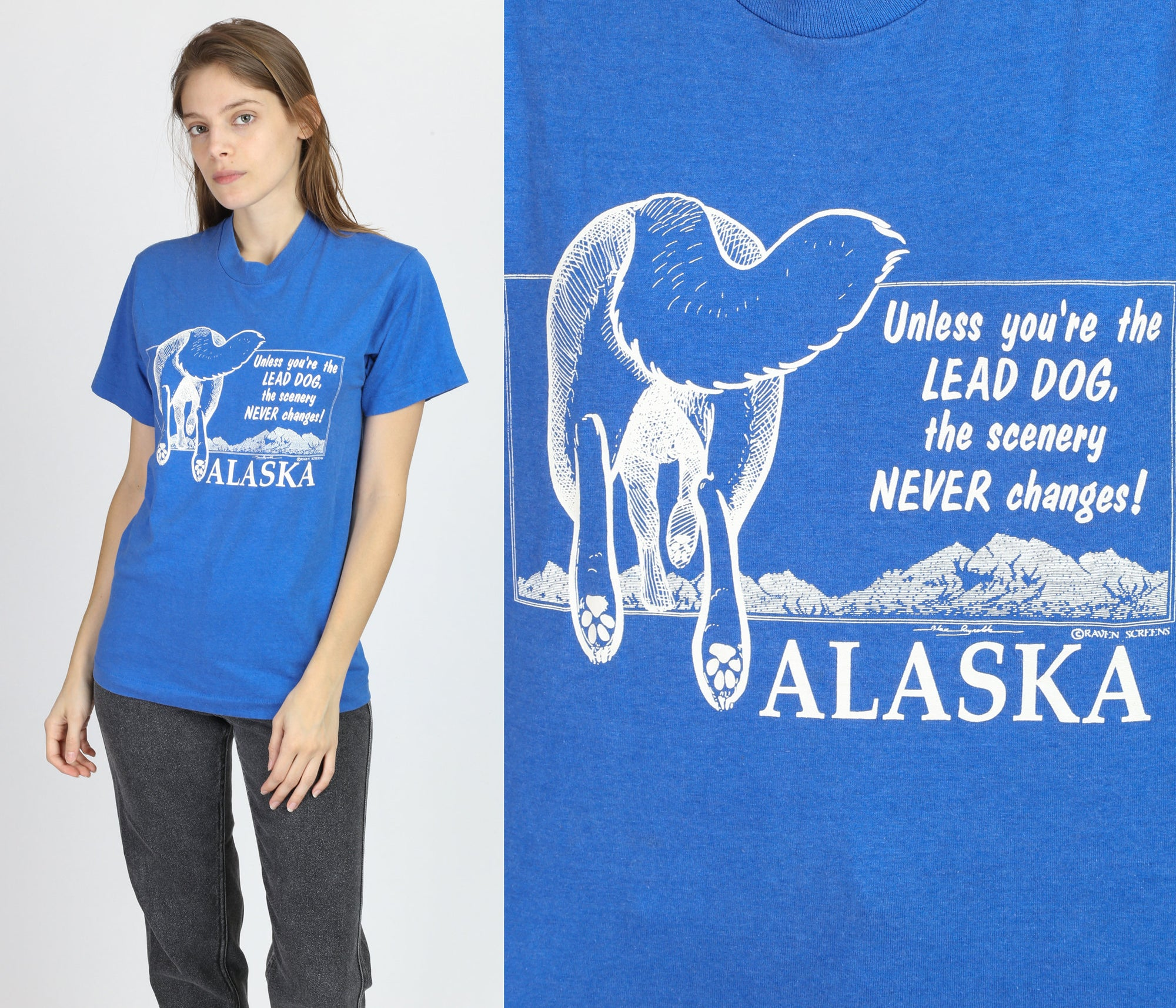 80s Alaska Sled Dog Graphic Tee - Medium