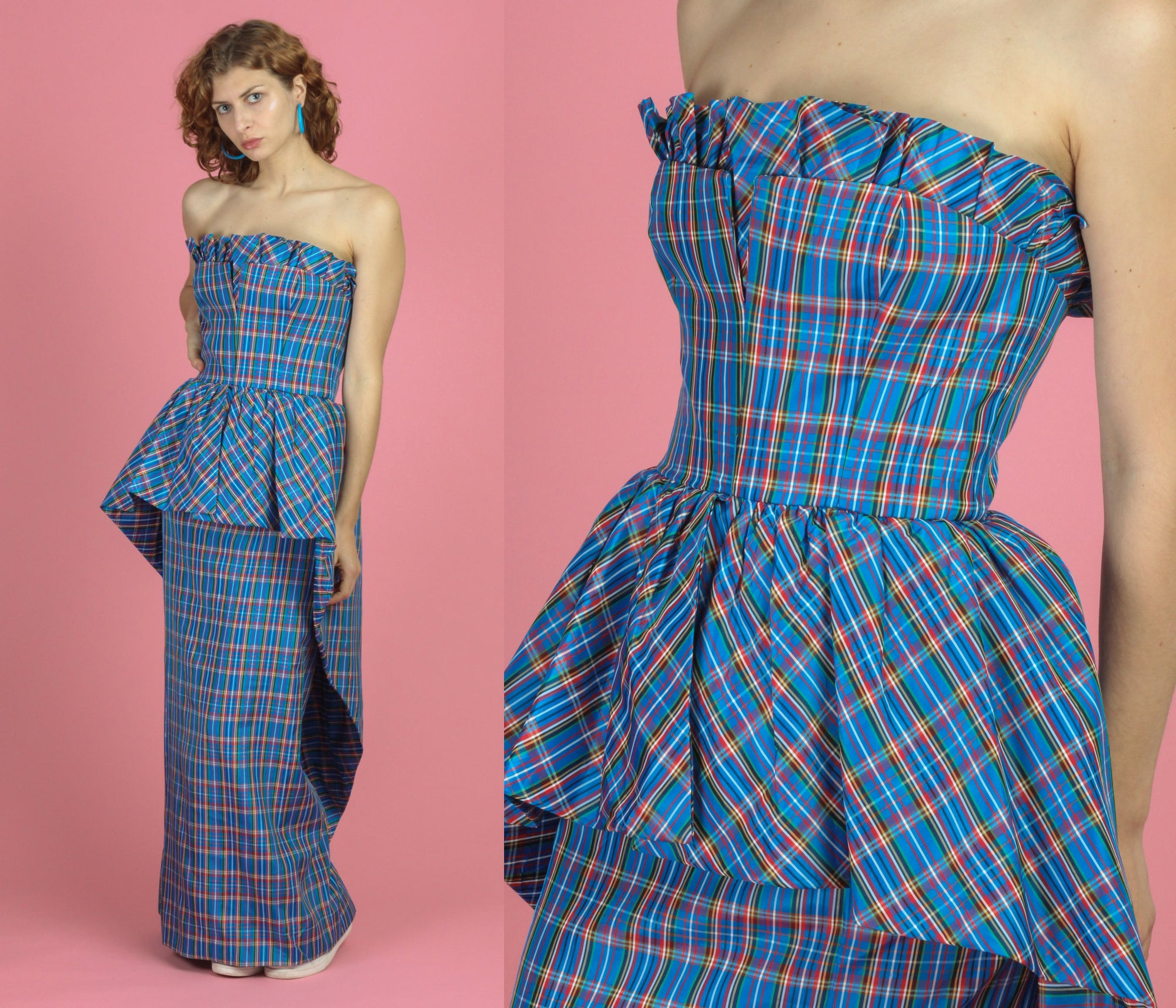 Victor Costa 80s Vintage Plaid Strapless Maxi Dress - Small