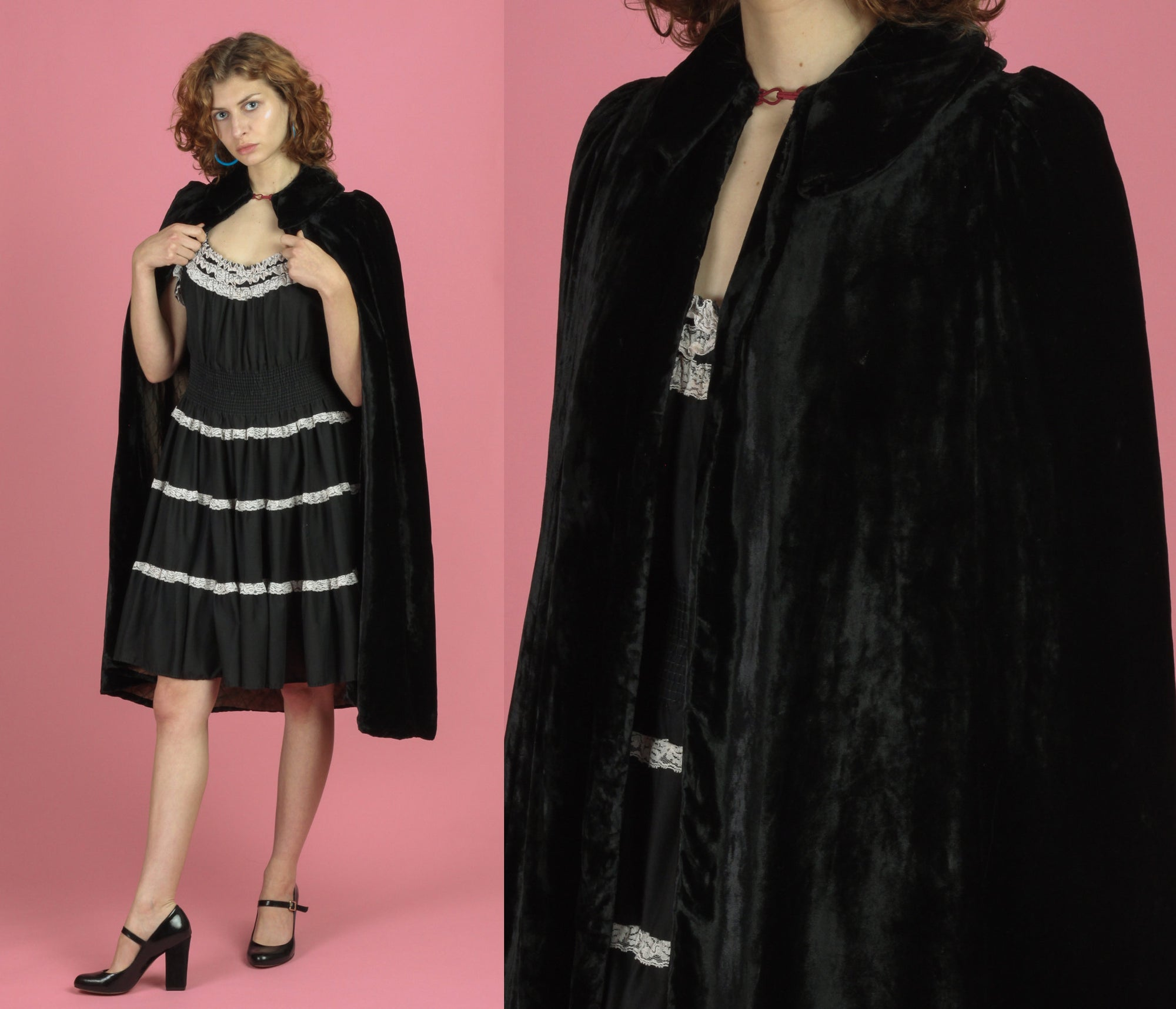 Vintage 1930s Black Velvet Opera Cape - XS to Small