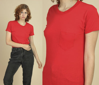 80s Plain Red Pocket Tee - Small
