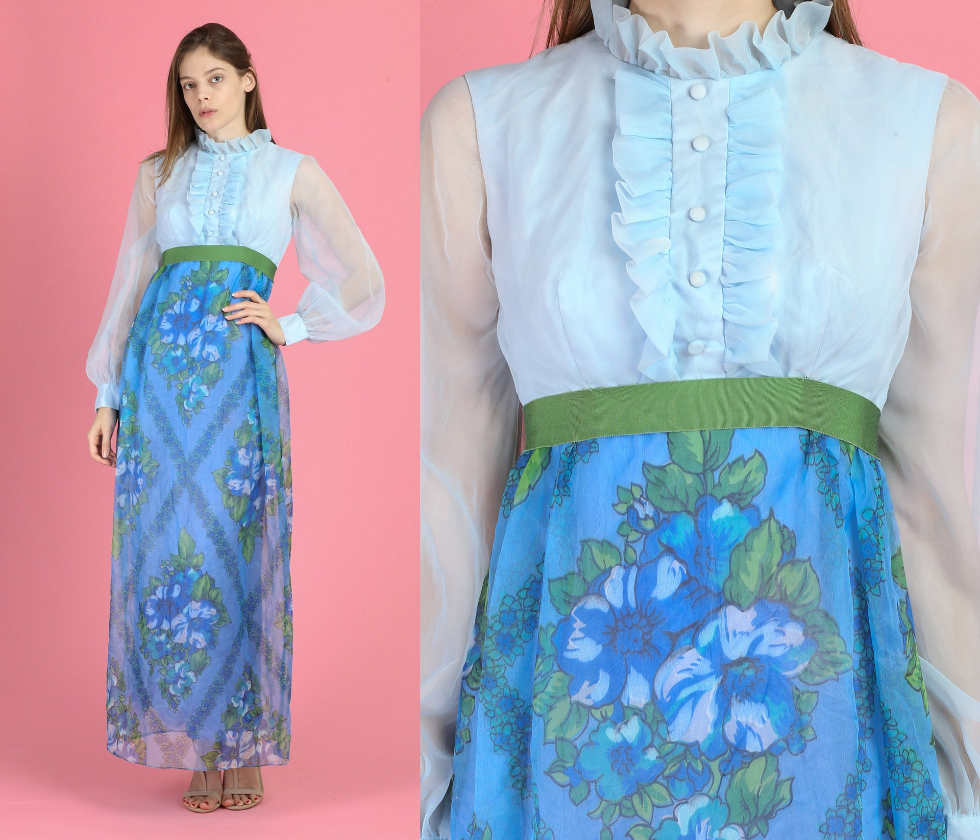 70s Floral Chiffon Sheer Sleeve Maxi Dress - Extra Small