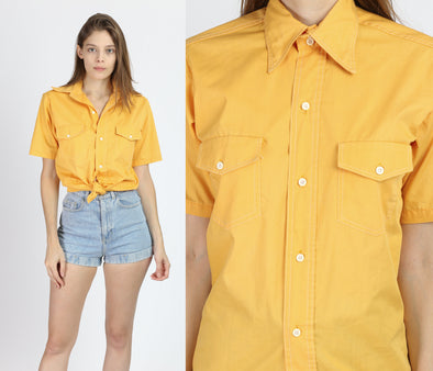70s Yellow Short Sleeve Button Up Shirt - Men's Small