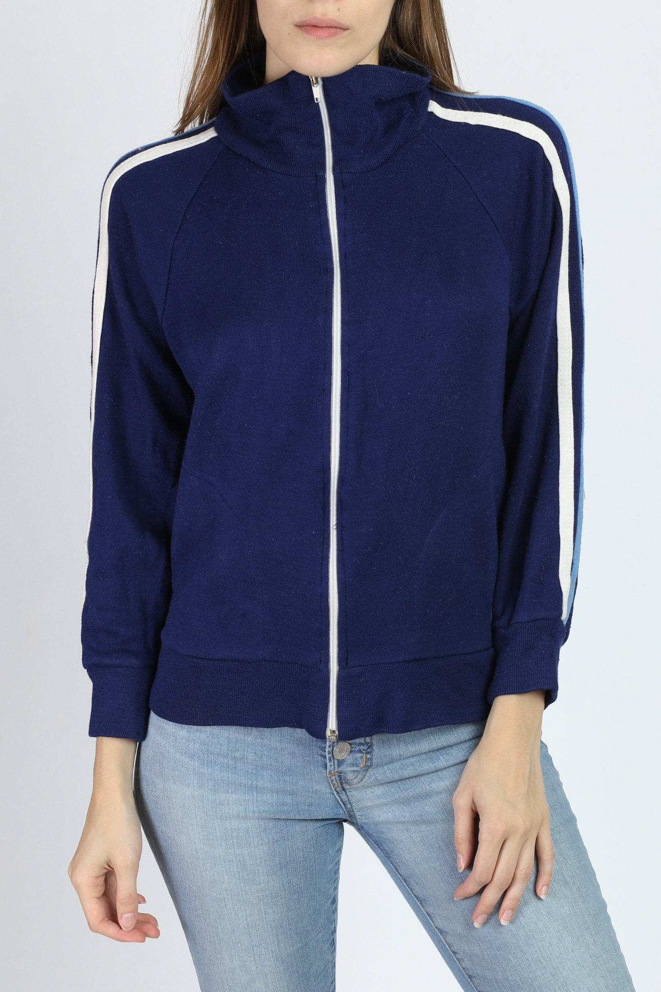 70s Navy Blue Zip Up Sweatshirt - Small
