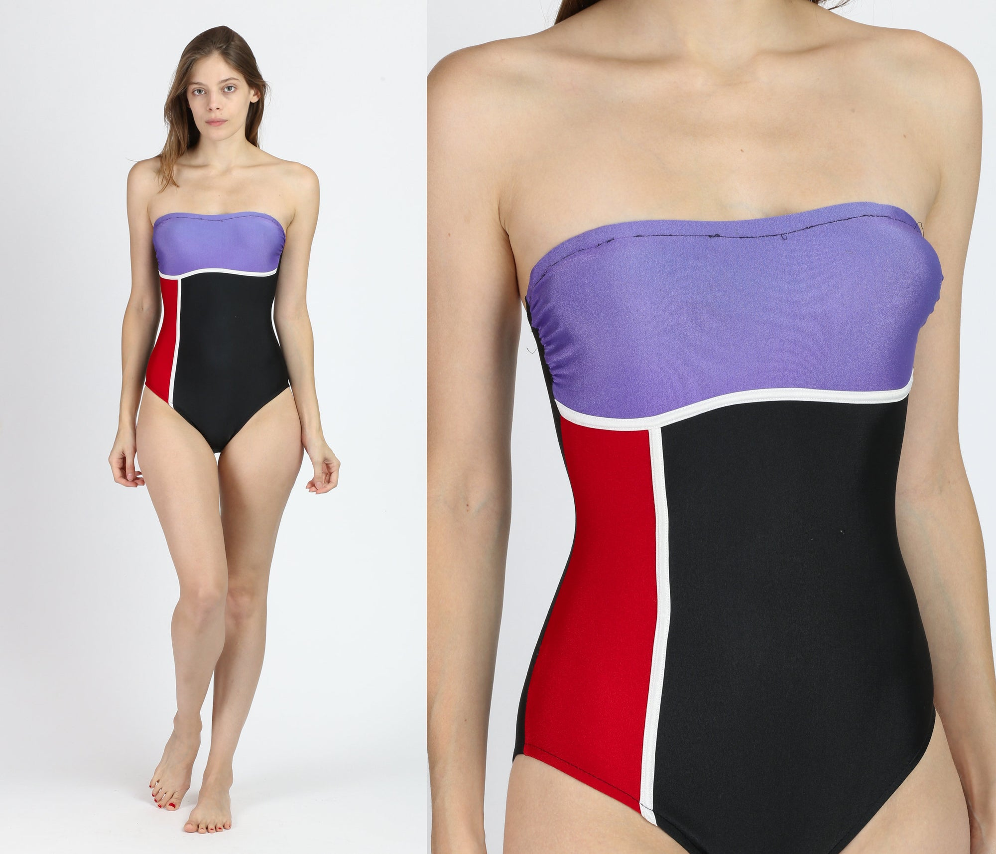 90s Color Block Strapless One Piece Swimsuit - Extra Small