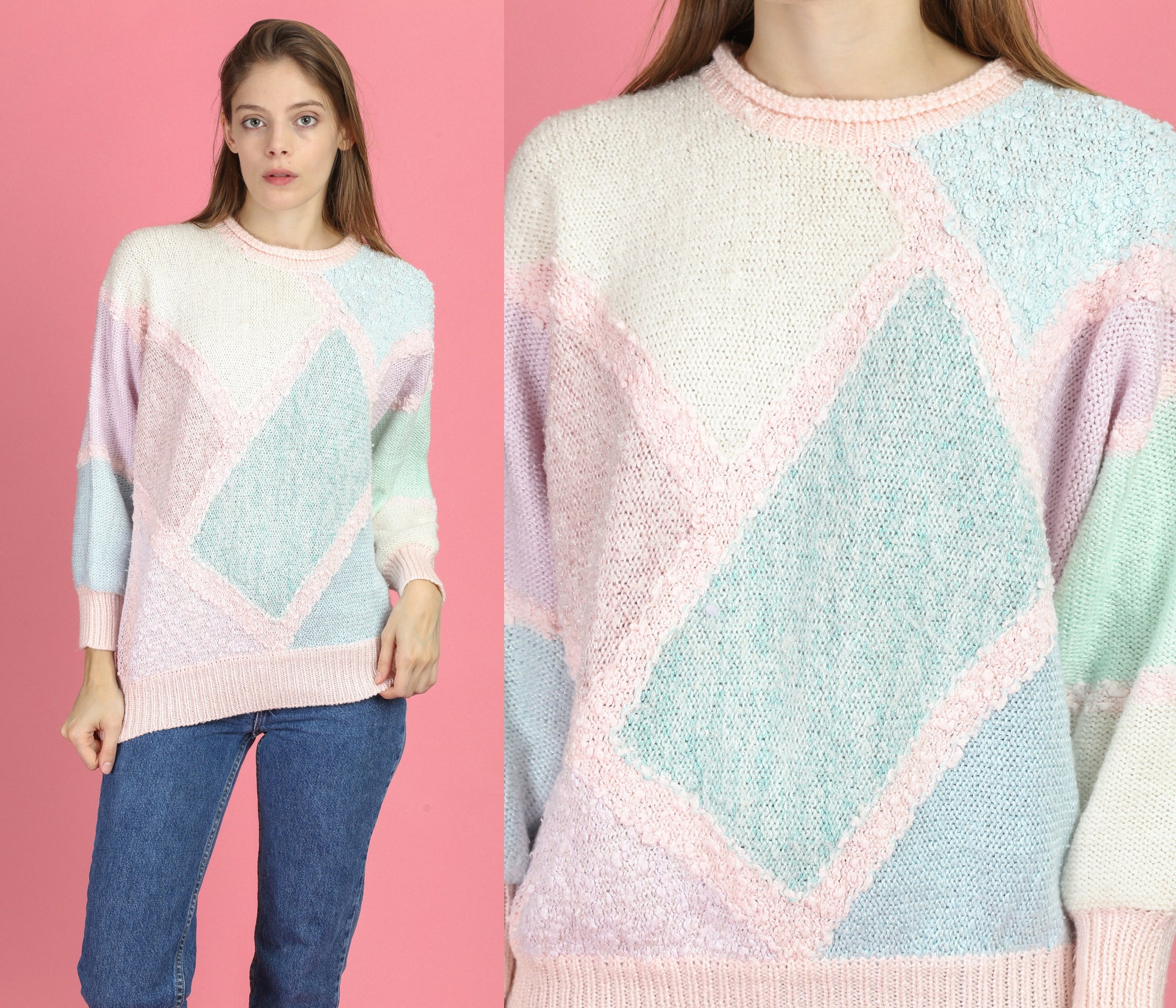 80s Pastel Color Block Knit Sweater - Large