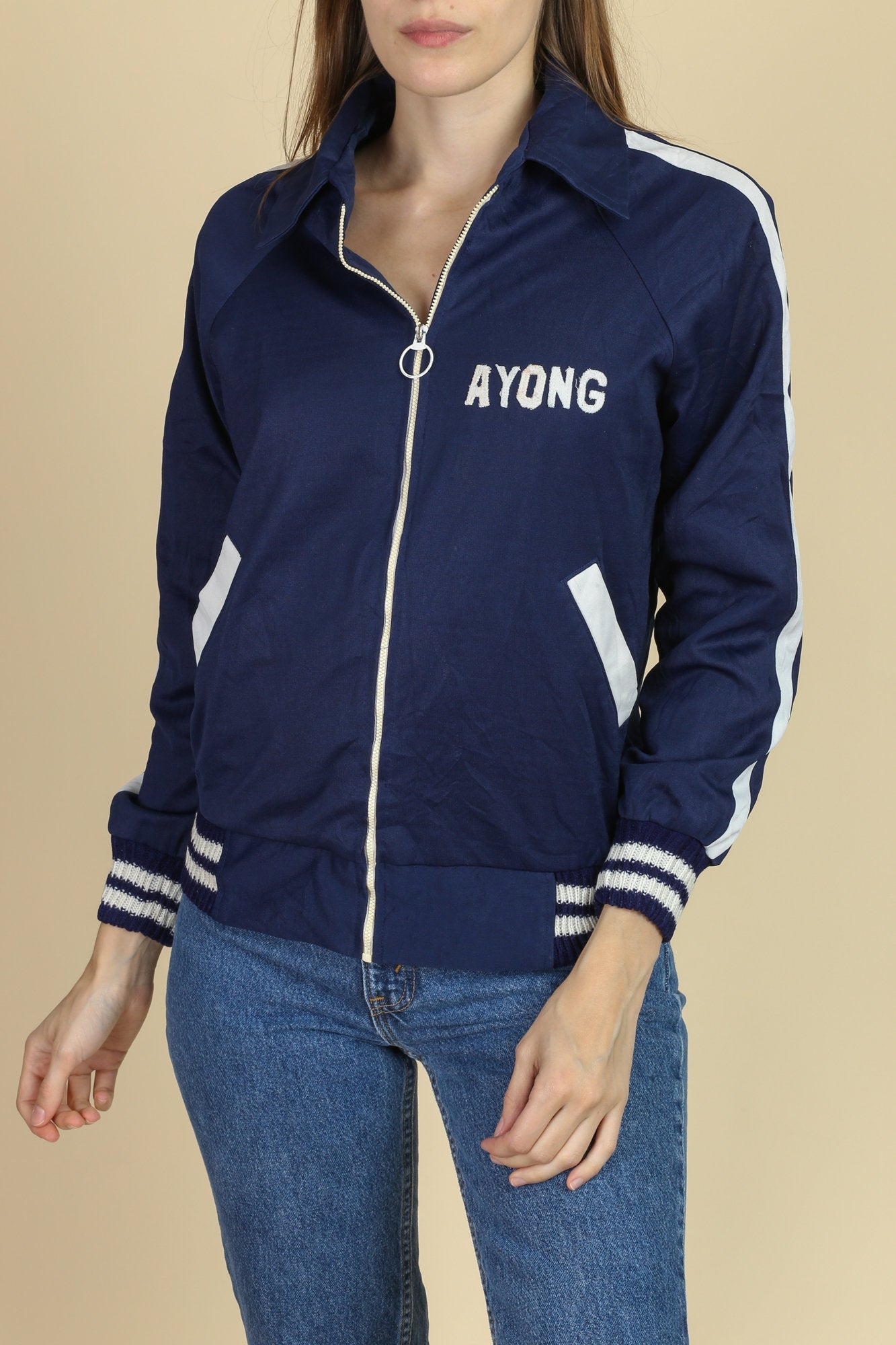Retro 70s Ring Zip Track Jacket - Small