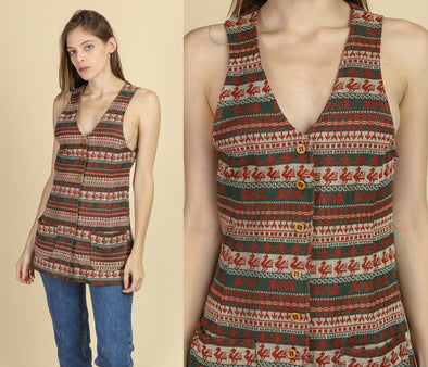 70s Boho Striped Vest Top - Small
