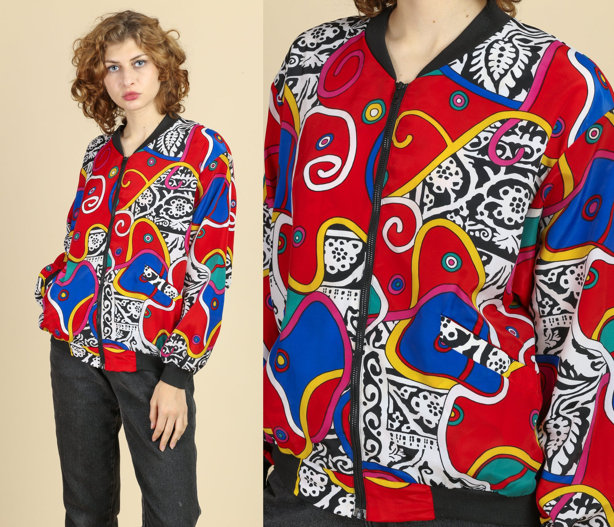 80s Crazy Print Windbreaker Bomber Jacket - Medium