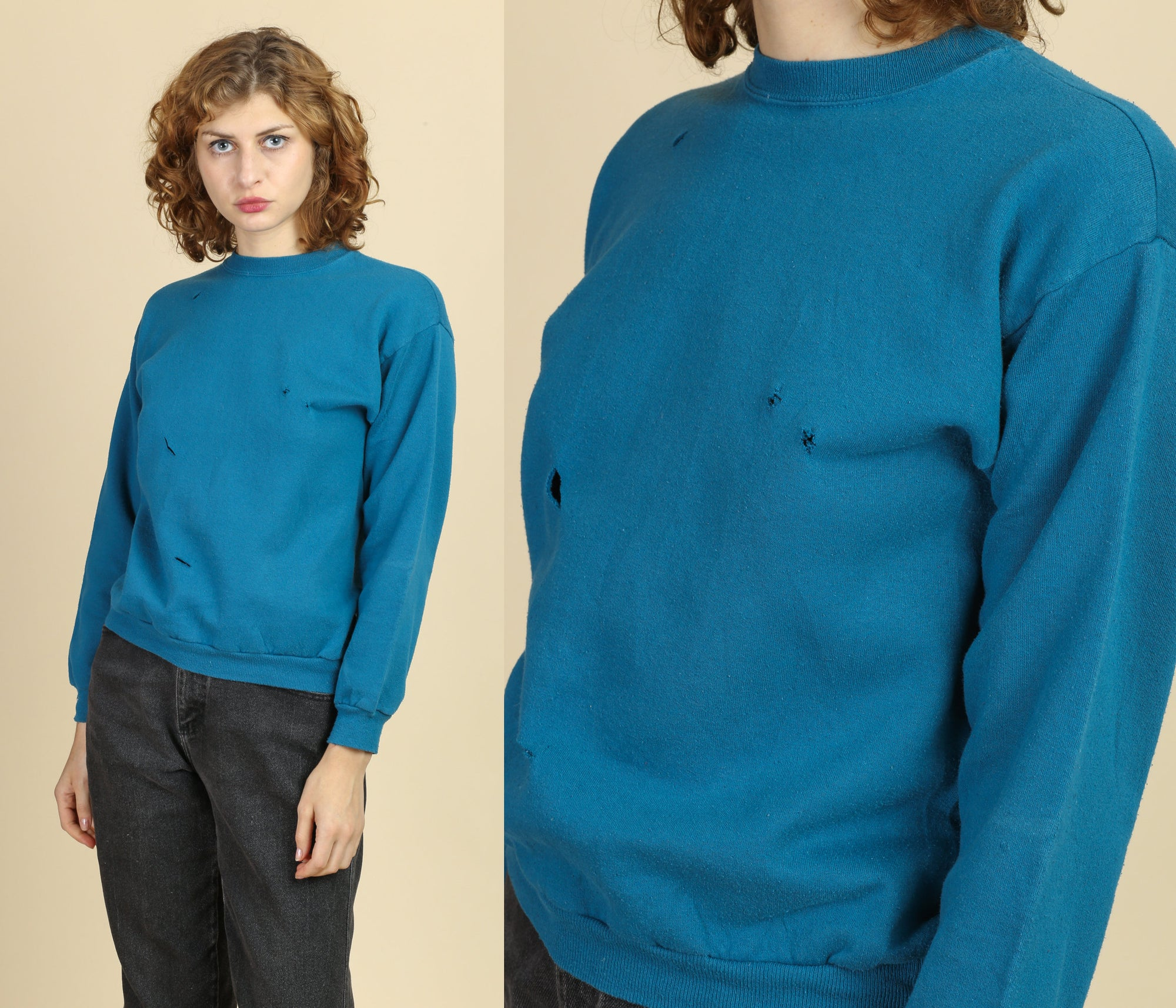90s Blue Distressed Sweatshirt - Small