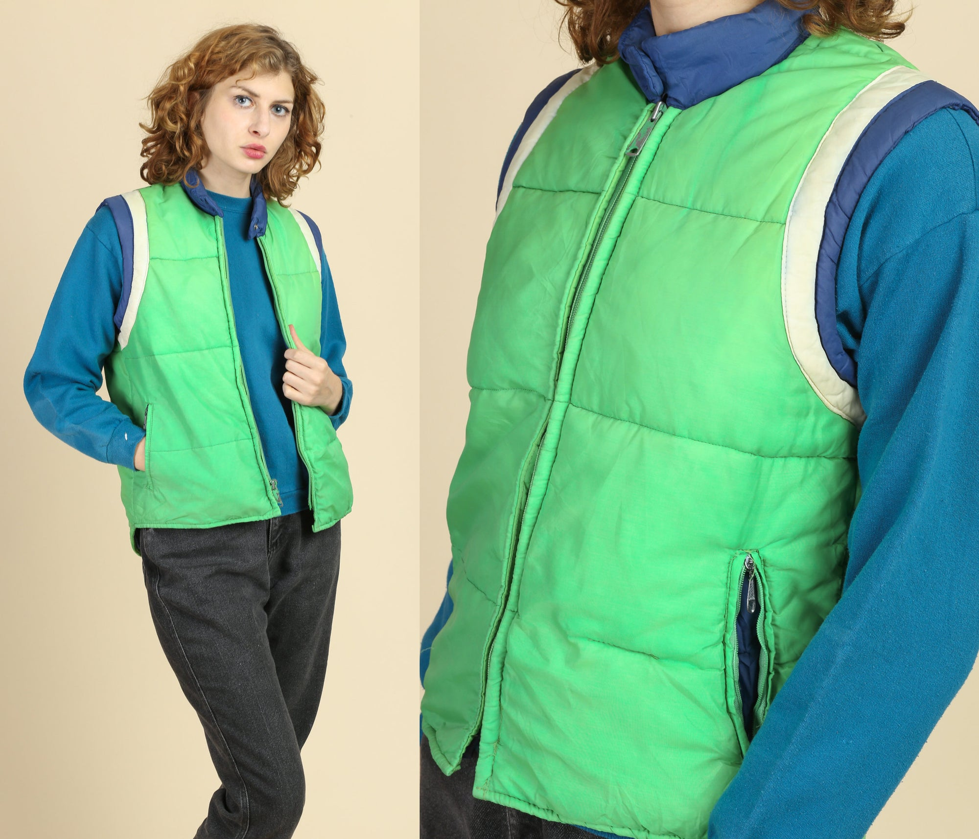 70s Retro Striped Puffer Vest - Small
